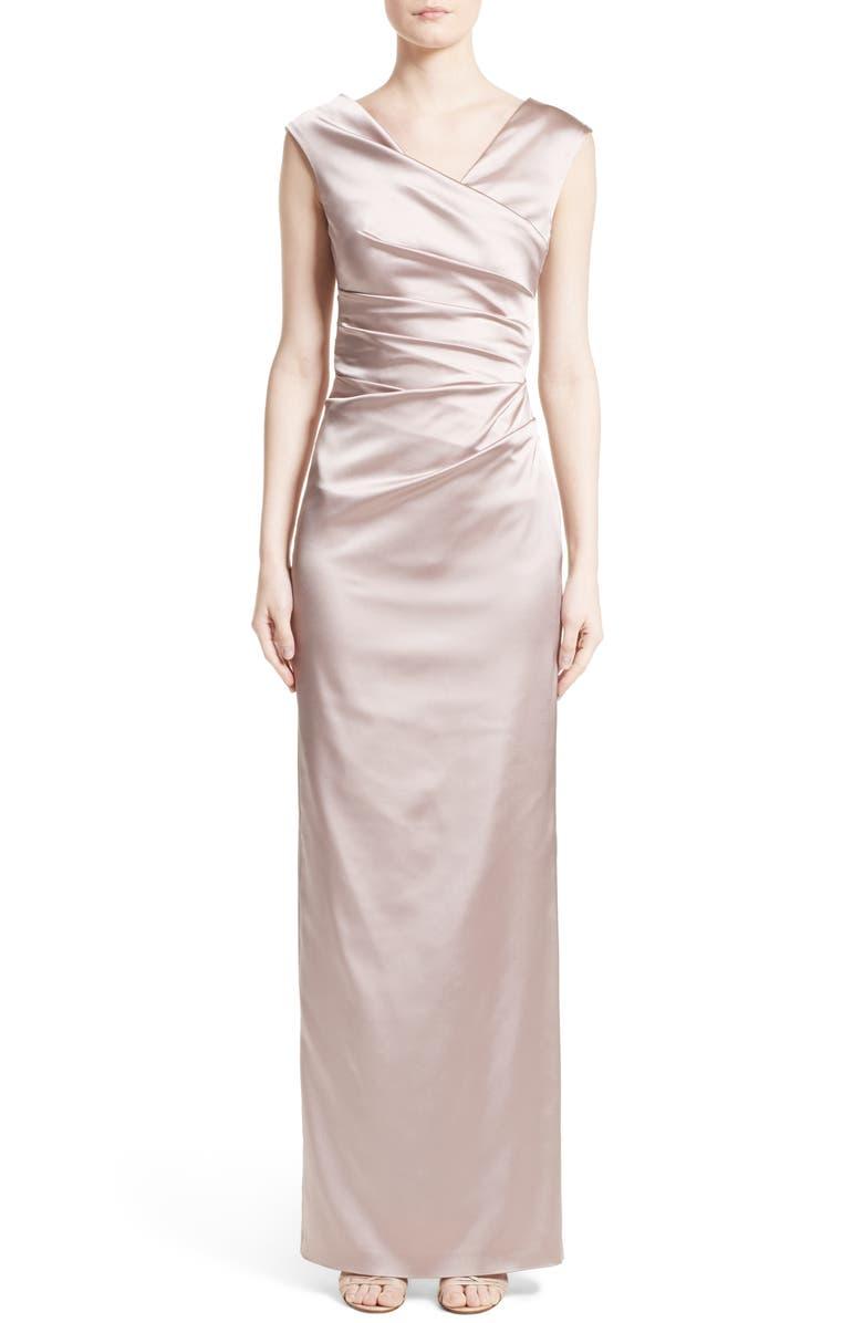 Stretch Satin Column Gown