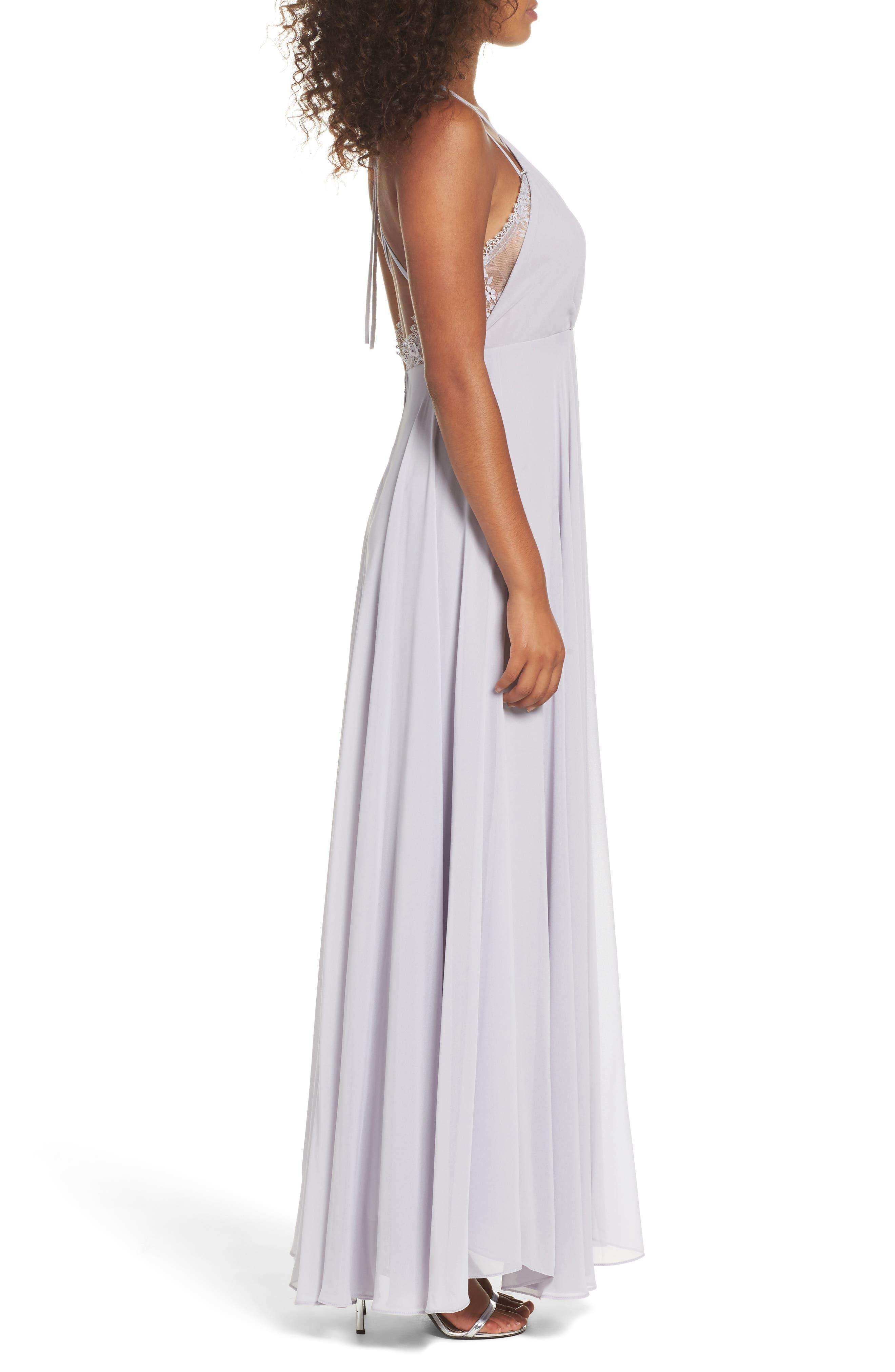 Alternate Image 3  - Lulus Celebrate the Moment Lace Trim Chiffon Maxi Dress