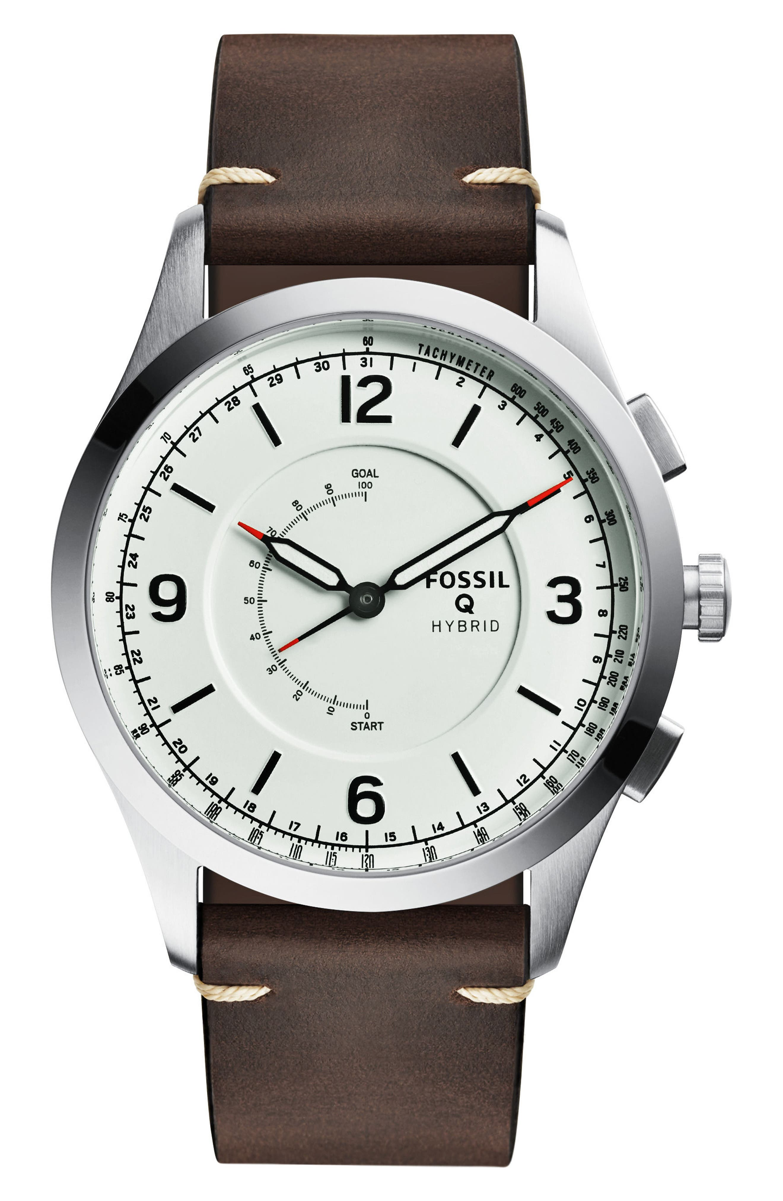Q Activist Hybrid Leather Strap Watch, 42mm,                         Main,                         color, Brown/ White/ Silver