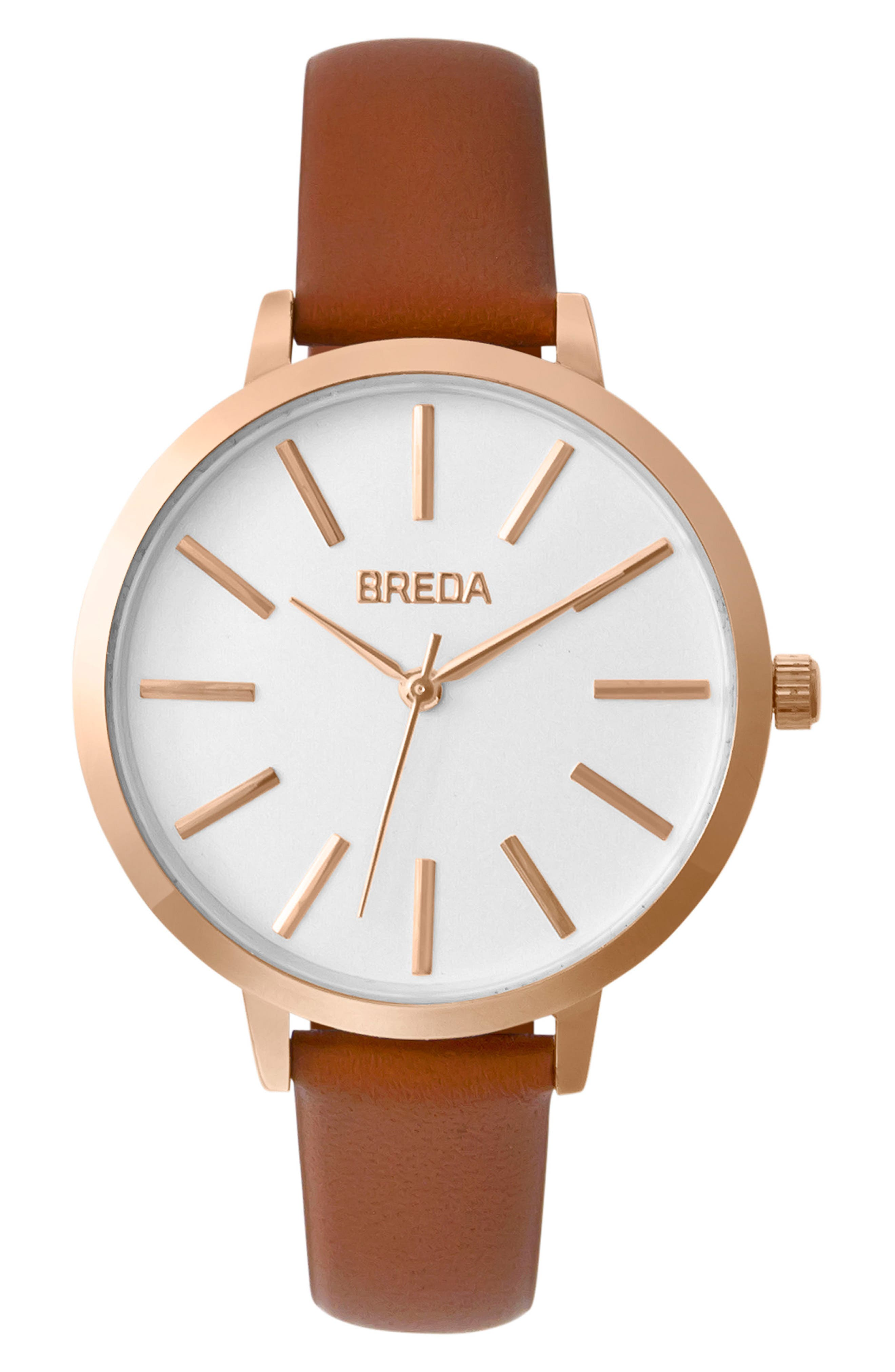 Main Image - BREDA Joule Round Leather Strap Watch, 37mm