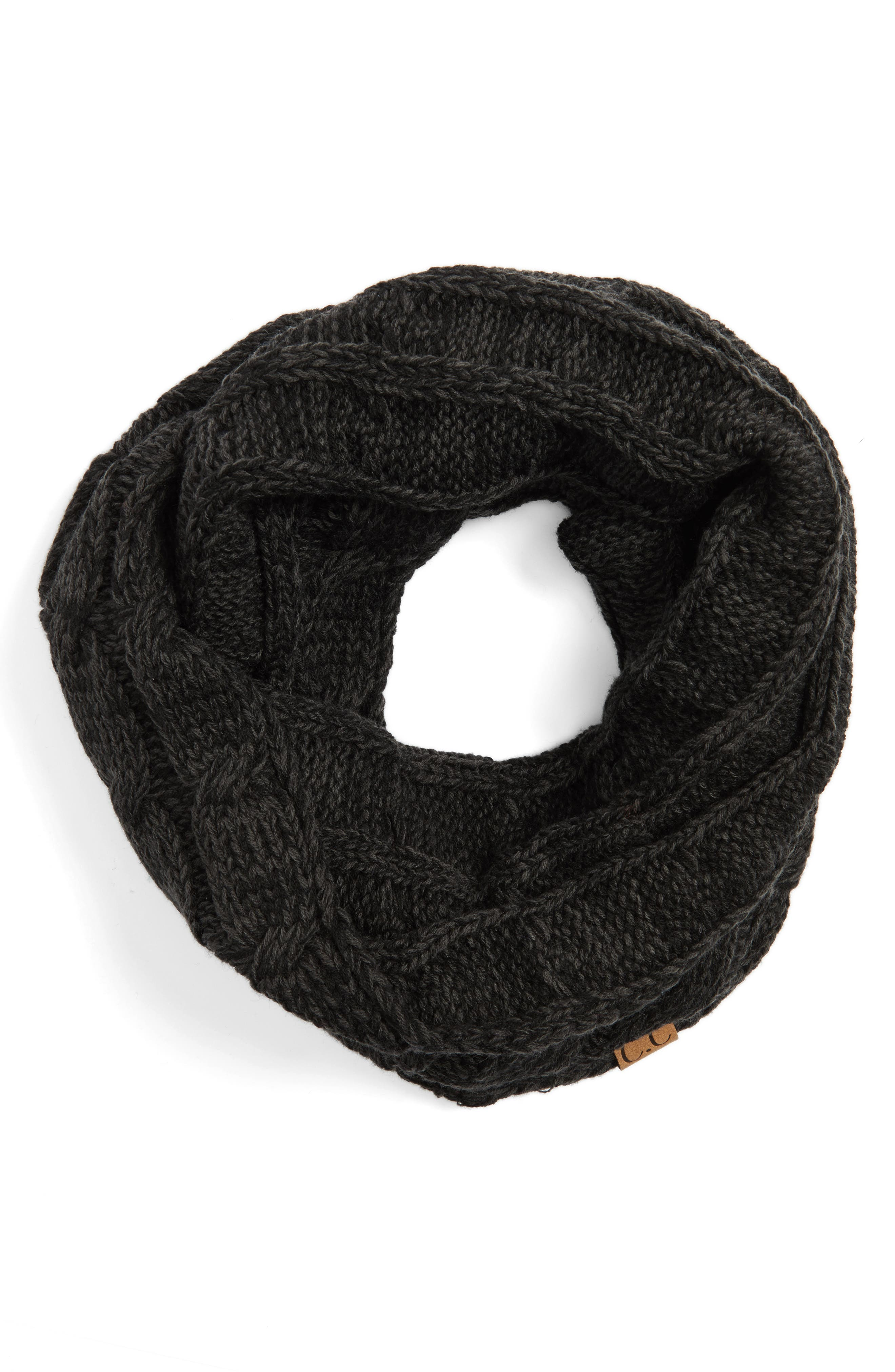 Knit Infinity Scarf,                             Alternate thumbnail 3, color,                             Black/ Grey