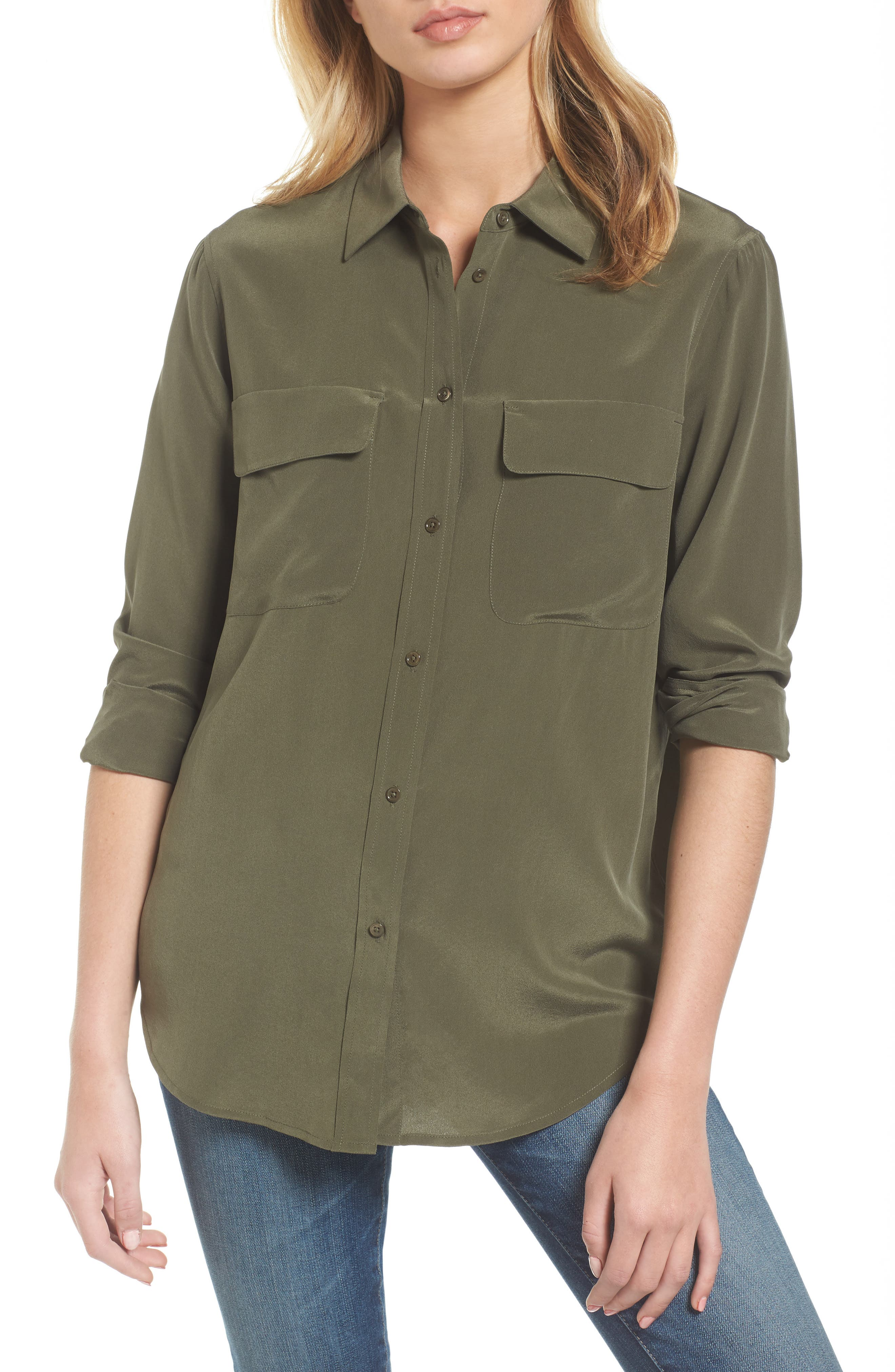 Alena Silk Shirt,                         Main,                         color, Climbing Ivy