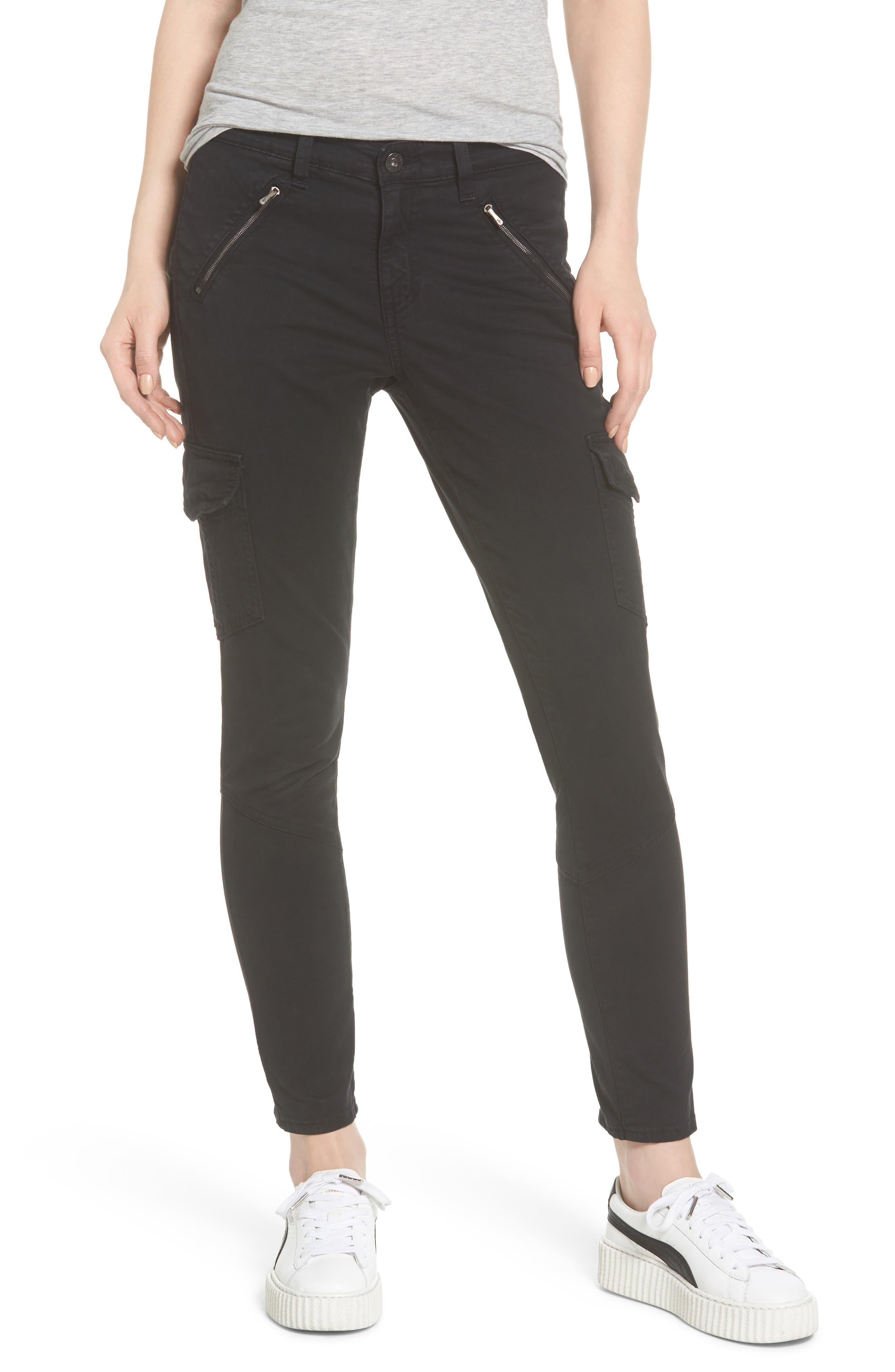Whitt Ankle Skinny Cargo Pants,                         Main,                         color, Sulfur Black