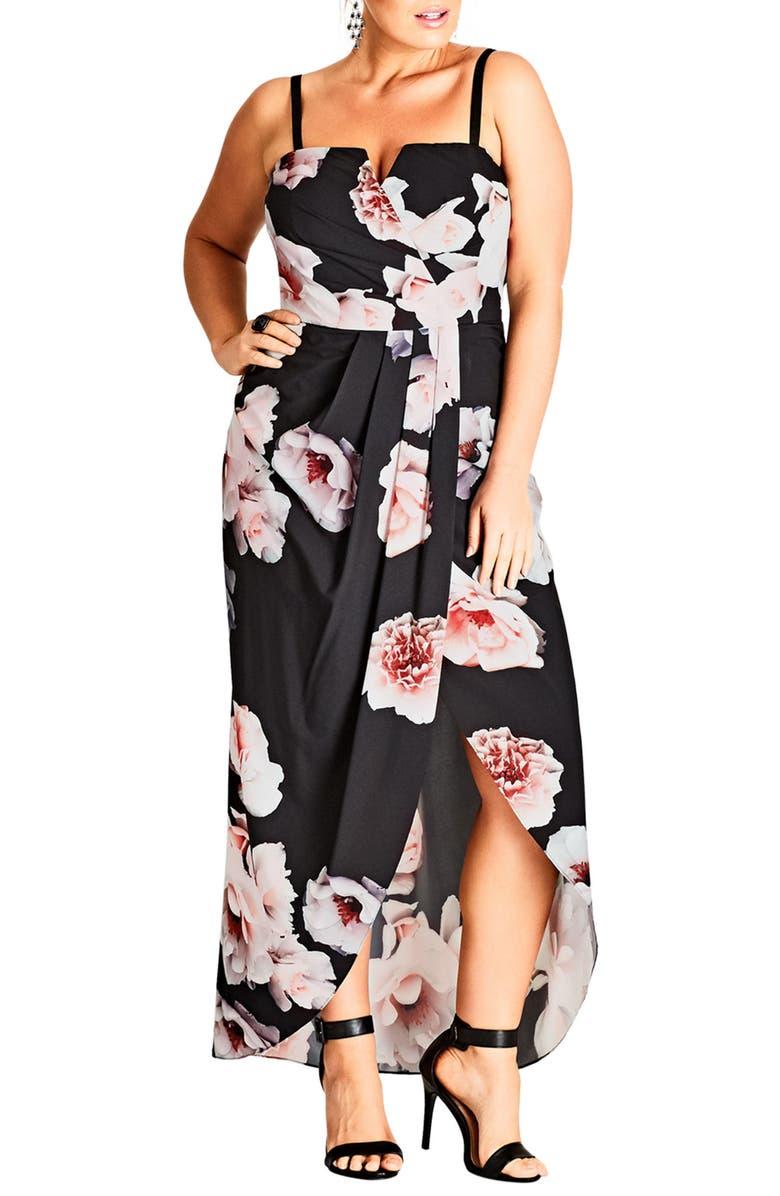 Open Rose Print Tulip Hem Maxi Dress