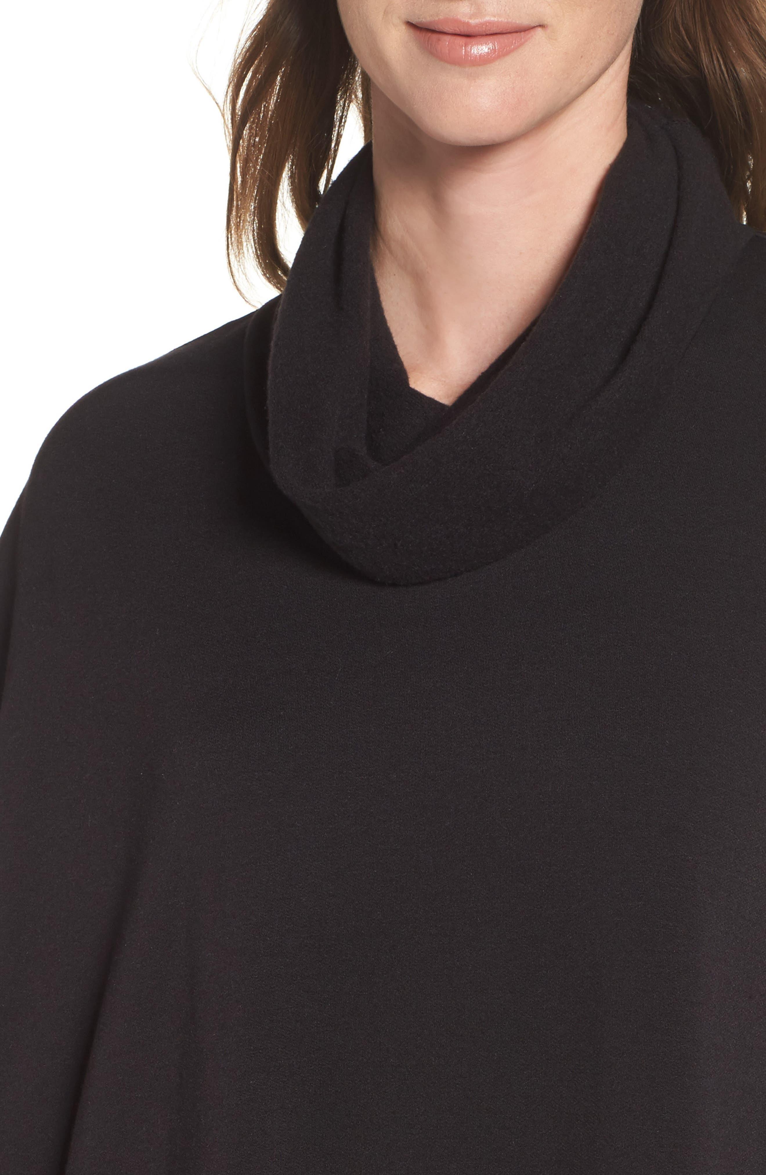 Brushed Jersey Poncho,                             Alternate thumbnail 5, color,                             Black