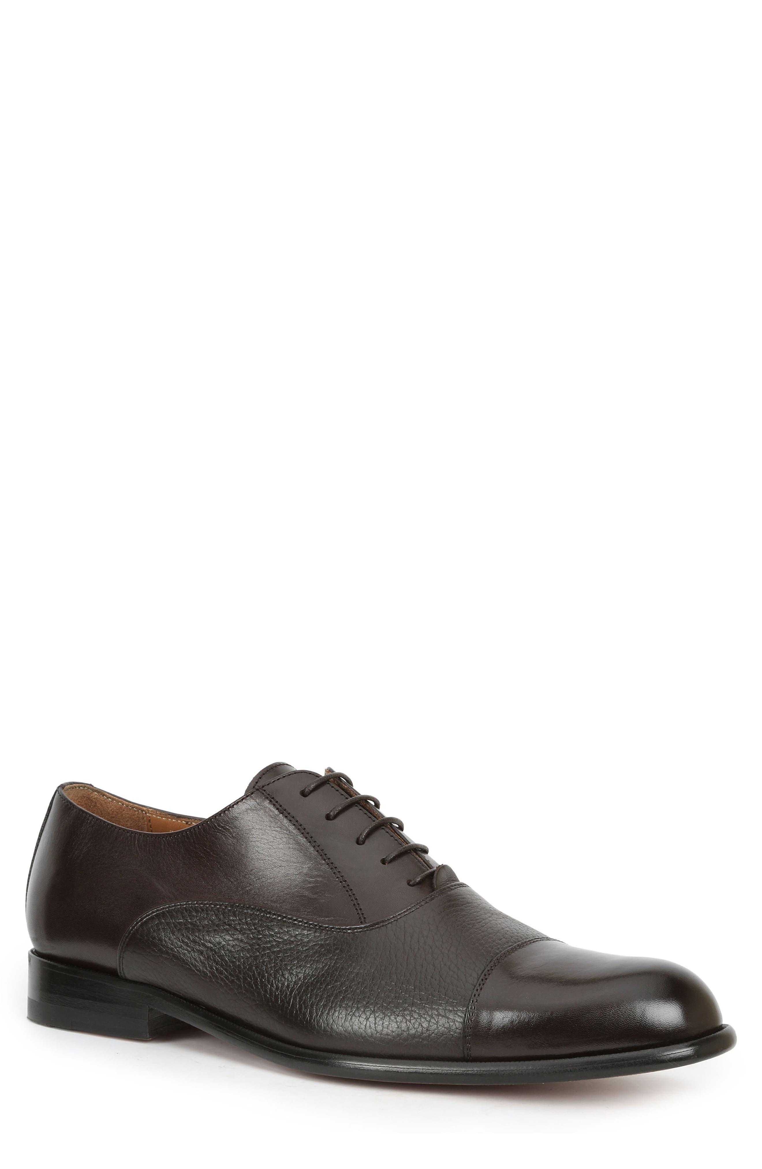 BRUNO MAGLI Sassiolo Leather Cap Toe Oxfords in Dark Brown Leather