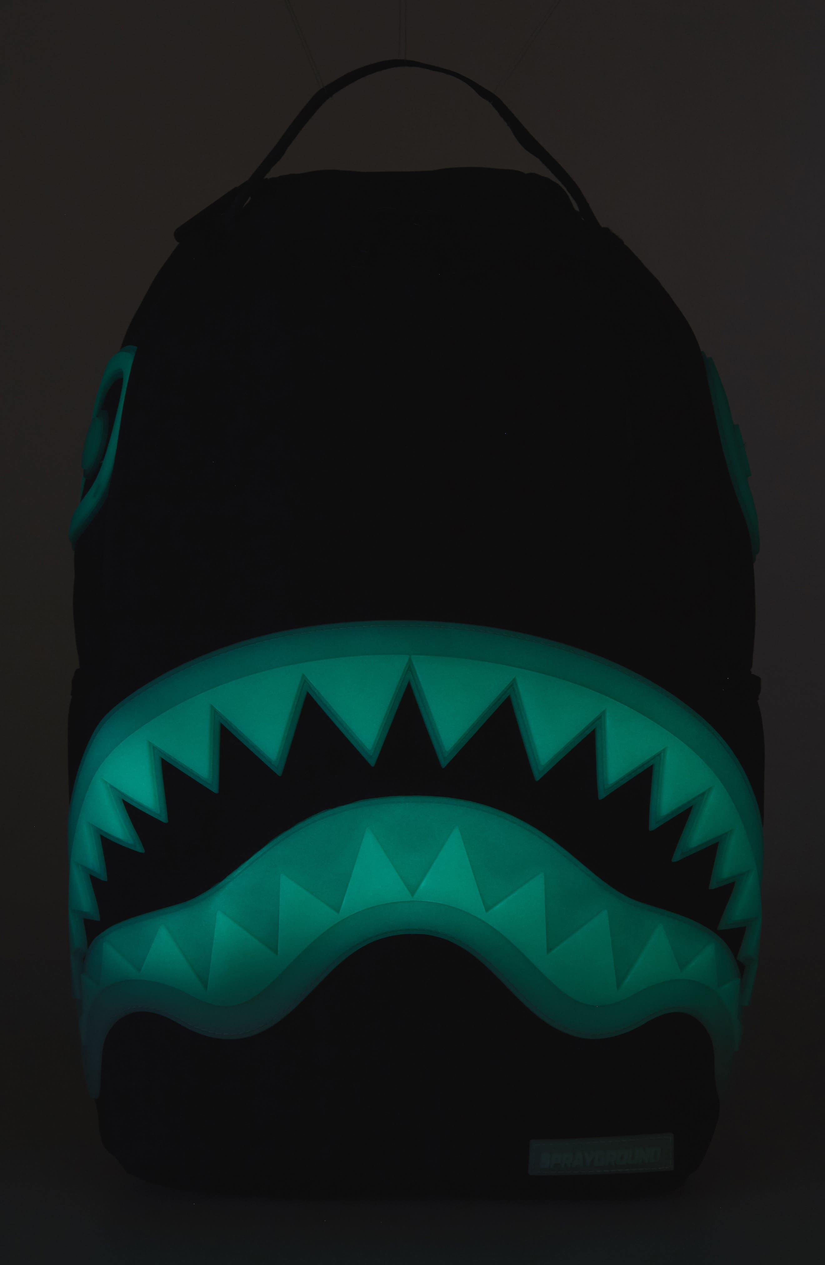 Glow in the Dark Shark Backpack,                             Alternate thumbnail 5, color,                             Black