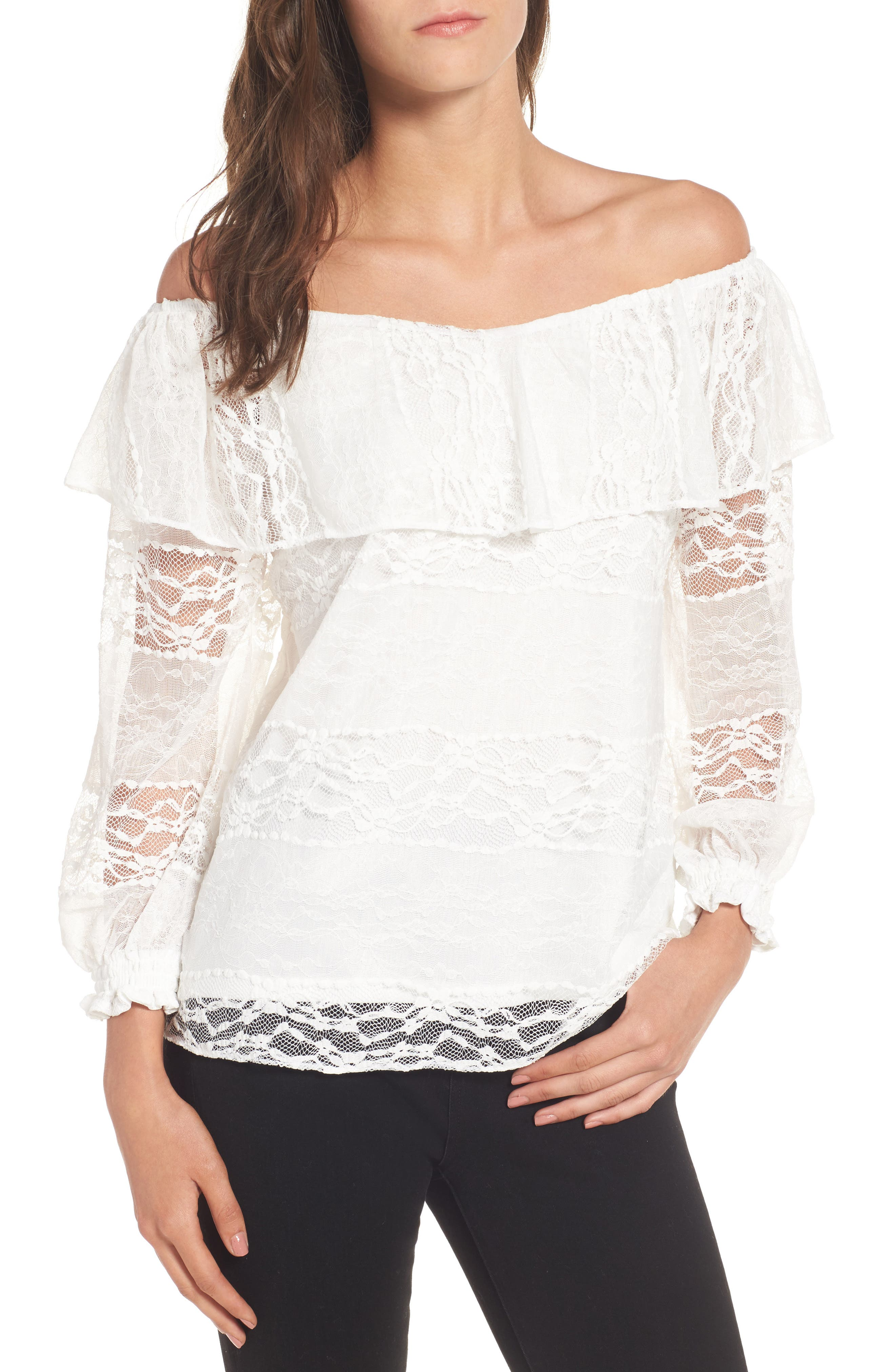 Wilma Off the Shoulder Lace Blouse,                         Main,                         color, Ivory