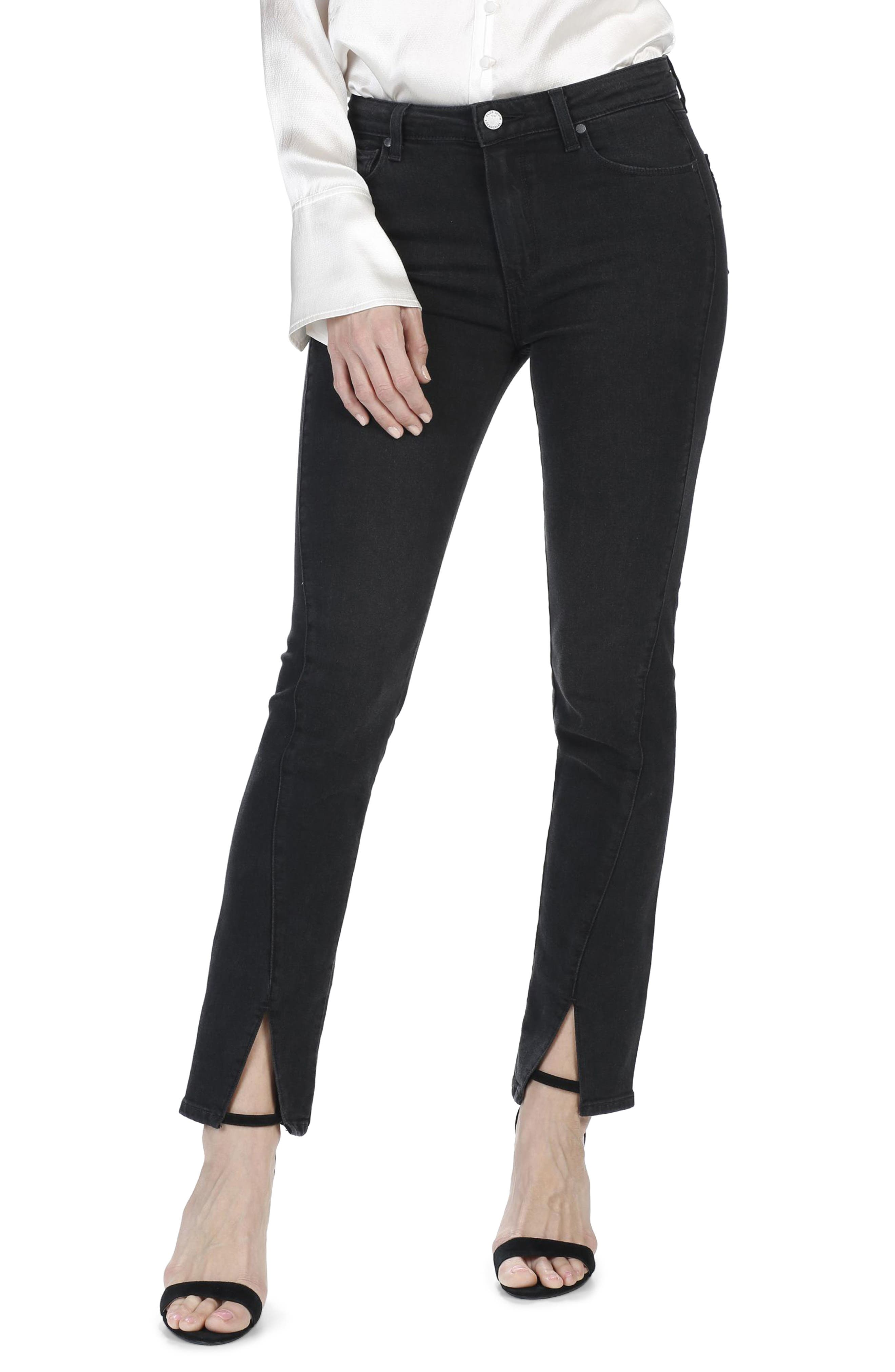 Alternate Image 1 Selected - PAIGE Julia High Waist Straight Leg Jeans with Twisted Seams (Black Fog)