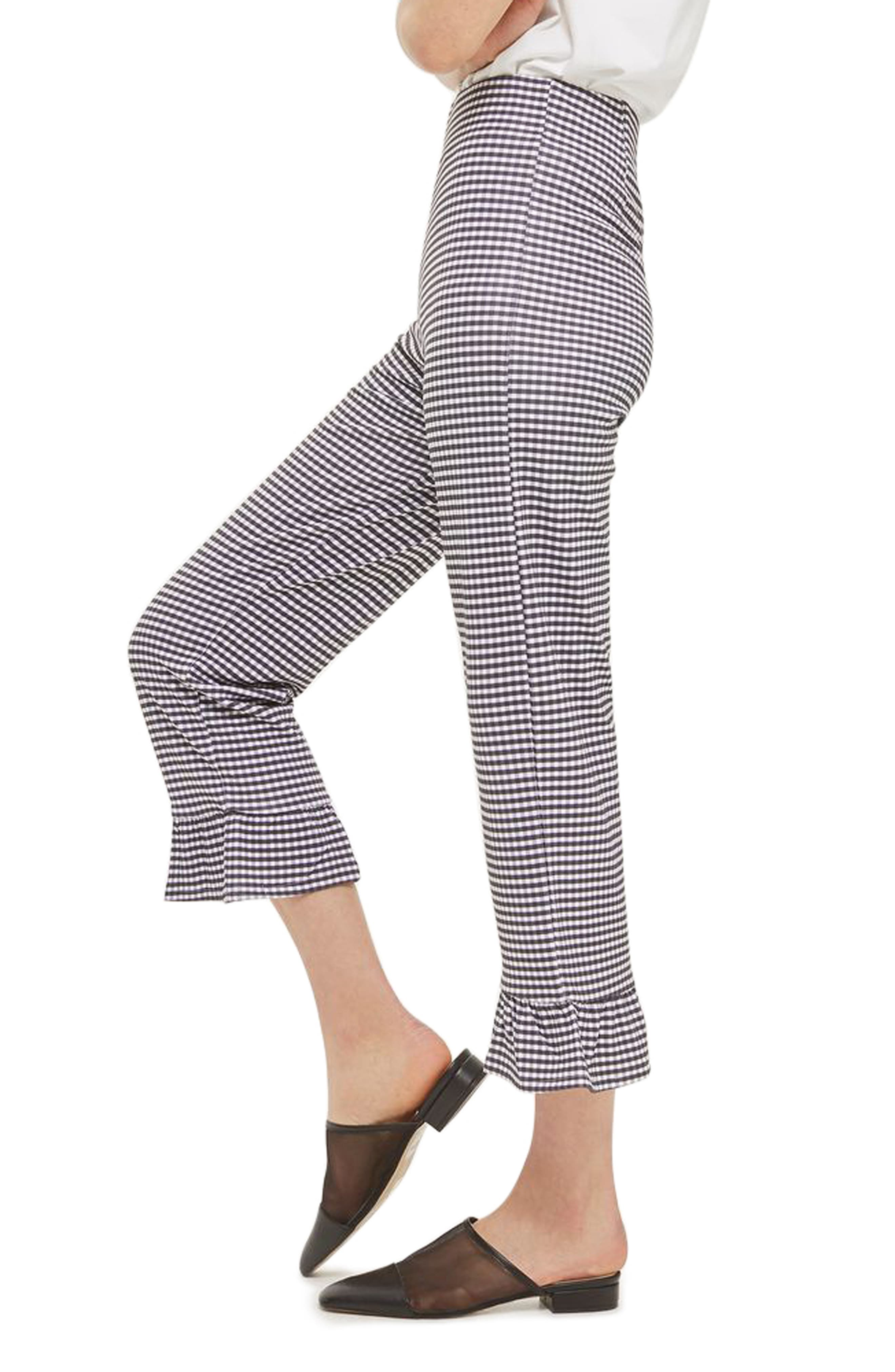 Alternate Image 4  - Topshop Gingham Ruffle Capri Trousers