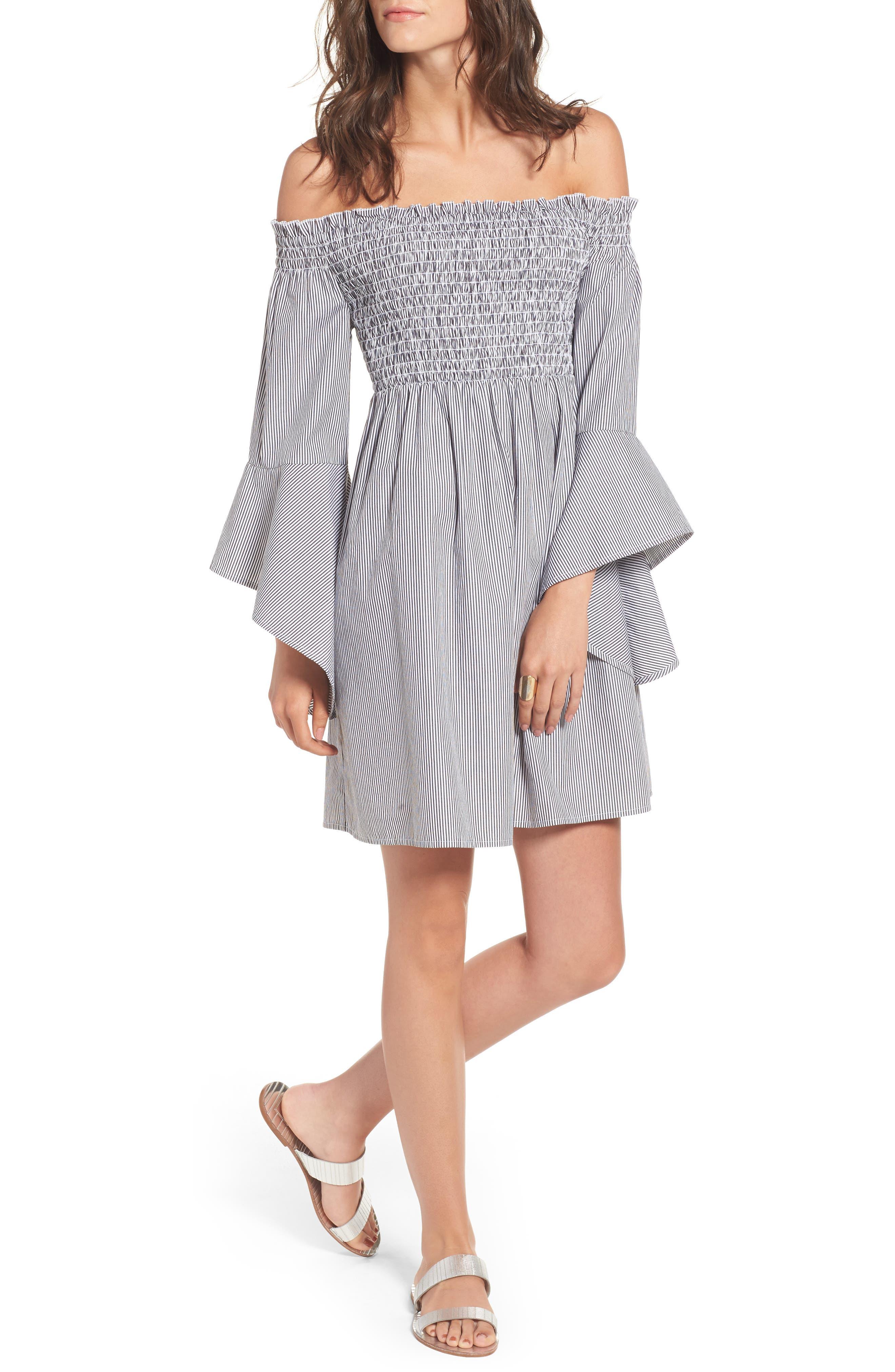 Main Image - BP. Smocked Off the Shoulder Dress