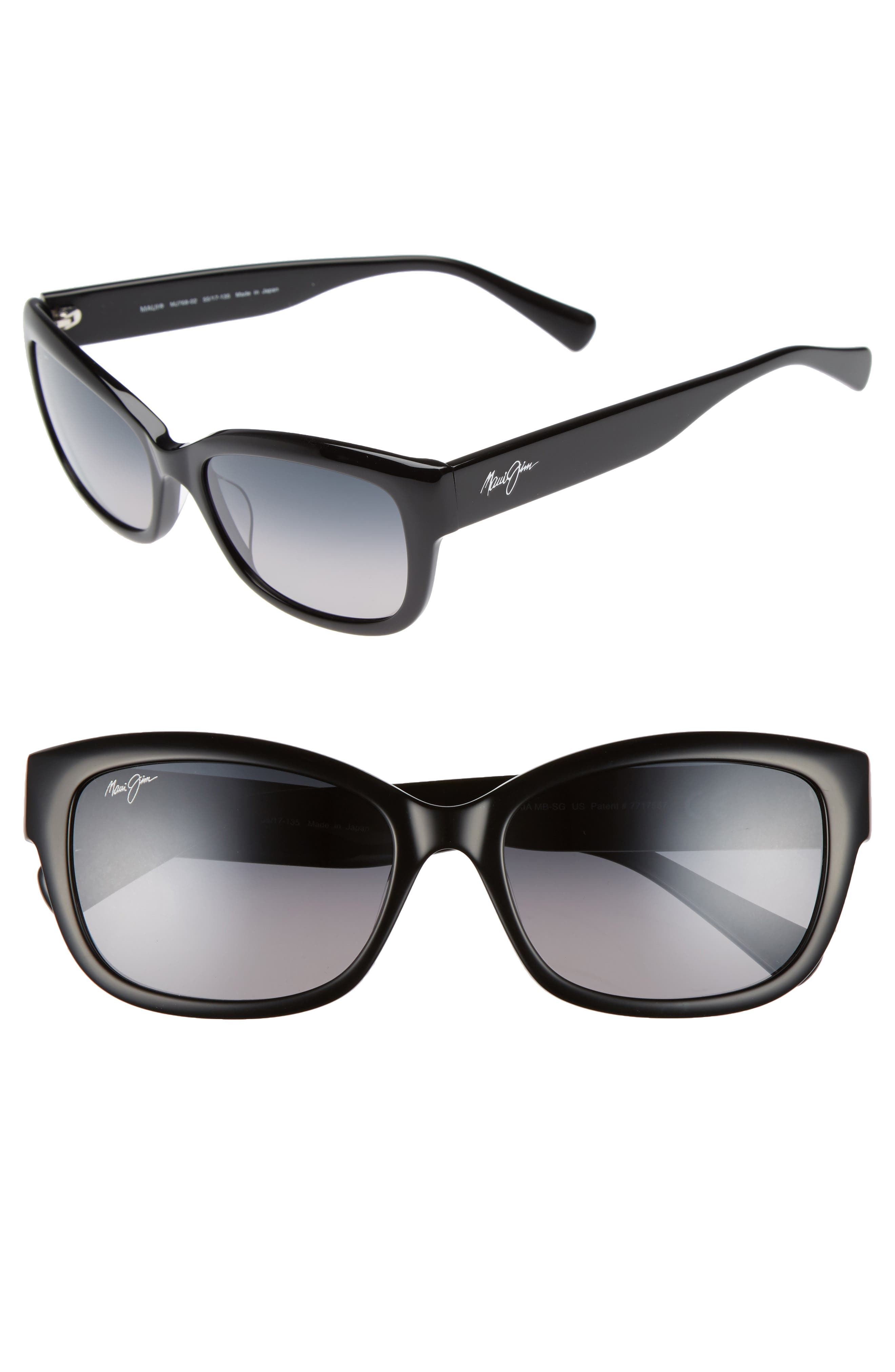 Plumeria 55mm Polarized Cat Eye Sunglasses,                             Main thumbnail 1, color,                             Gloss Black/ Neutral Grey
