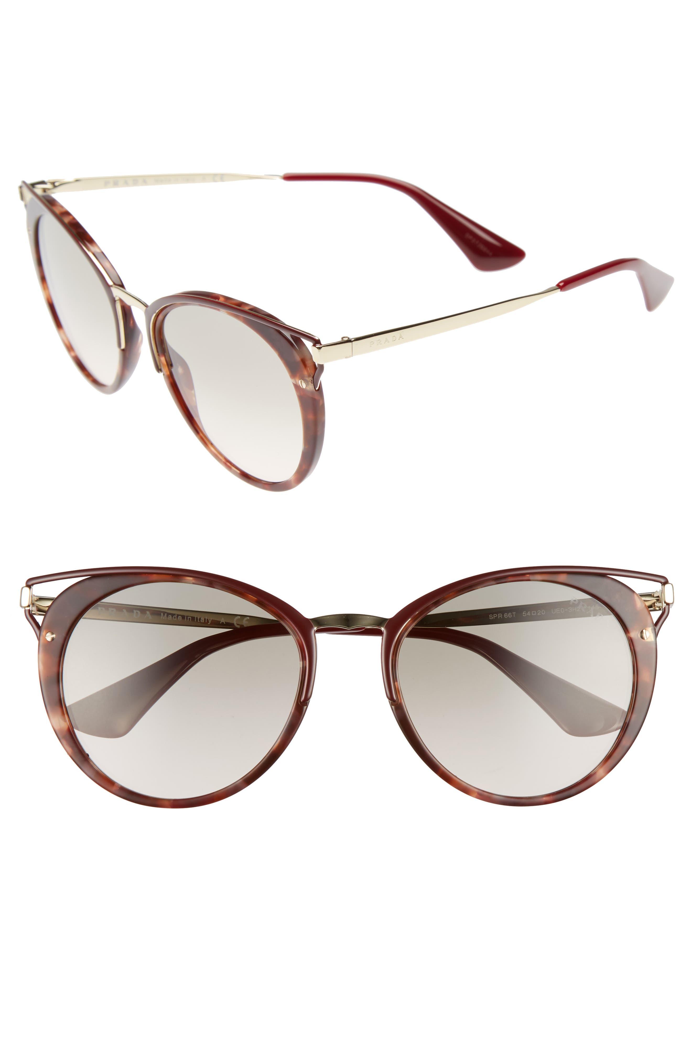 Prada 54mm Gradient Cat Eye Sunglasses