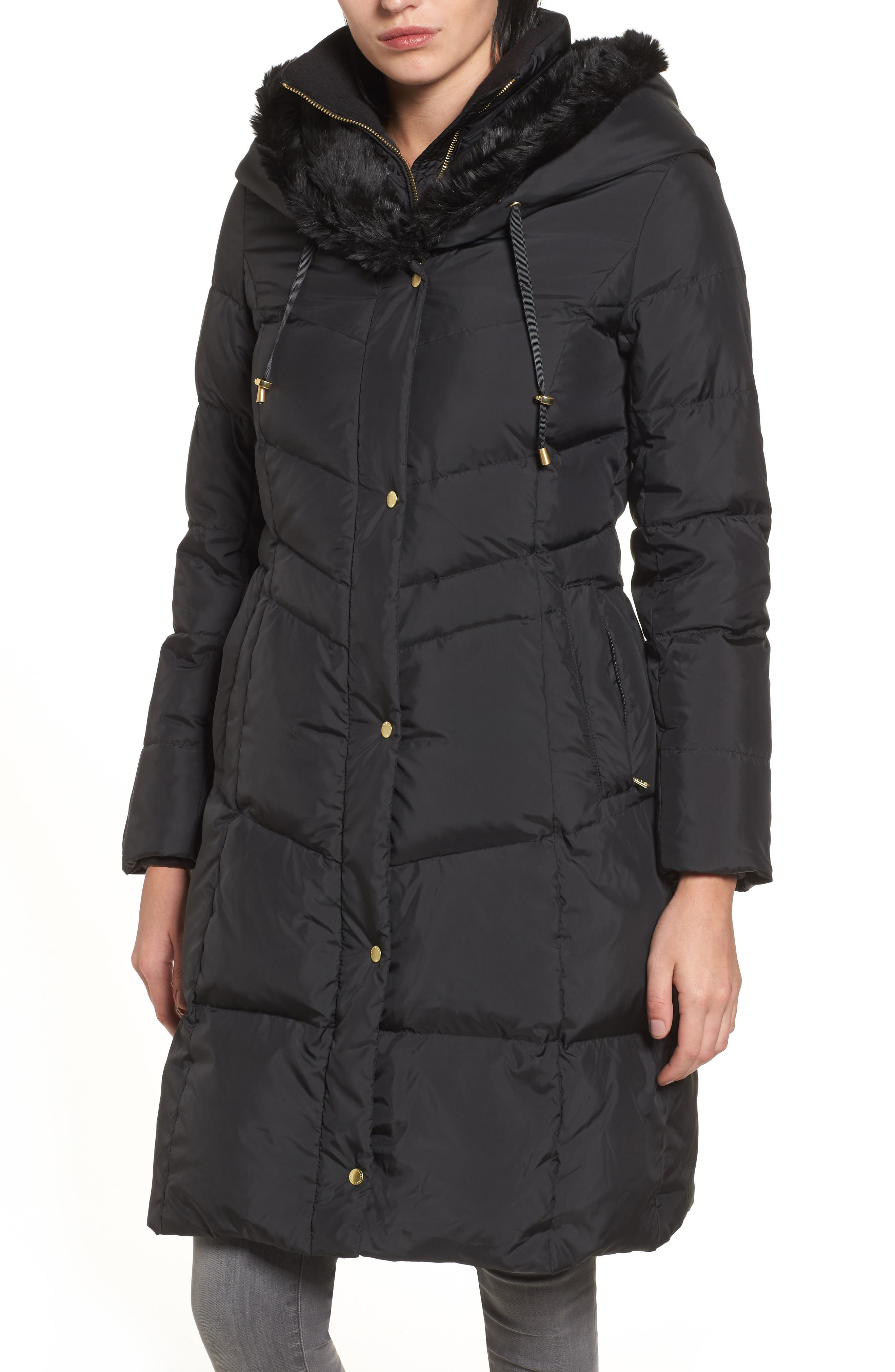 3/4 Down Coat with Faux Fur Hood,                         Main,                         color, Black