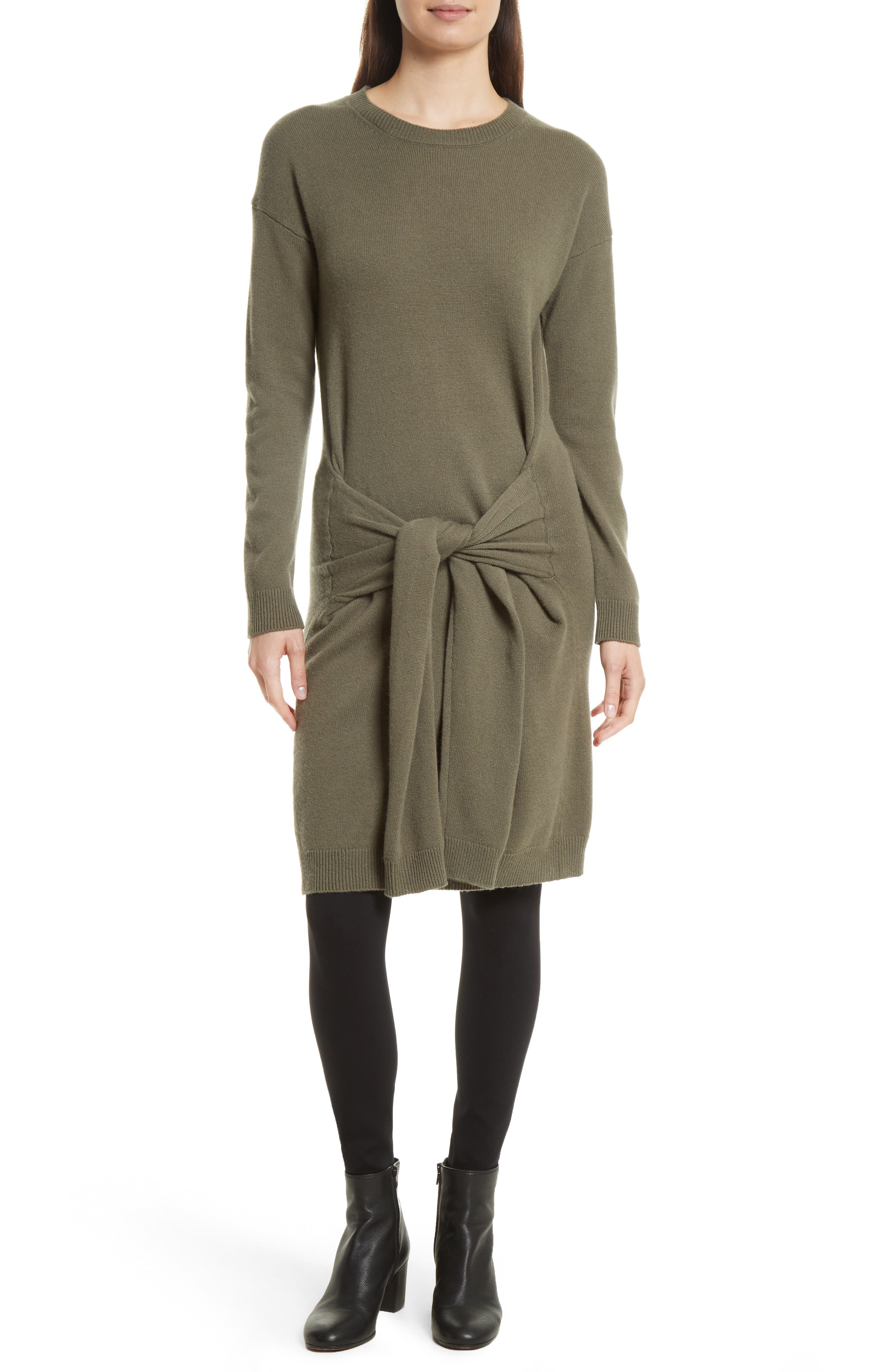 Long Sleeve Tie Waist Sweater Dress,                         Main,                         color, Olivewood