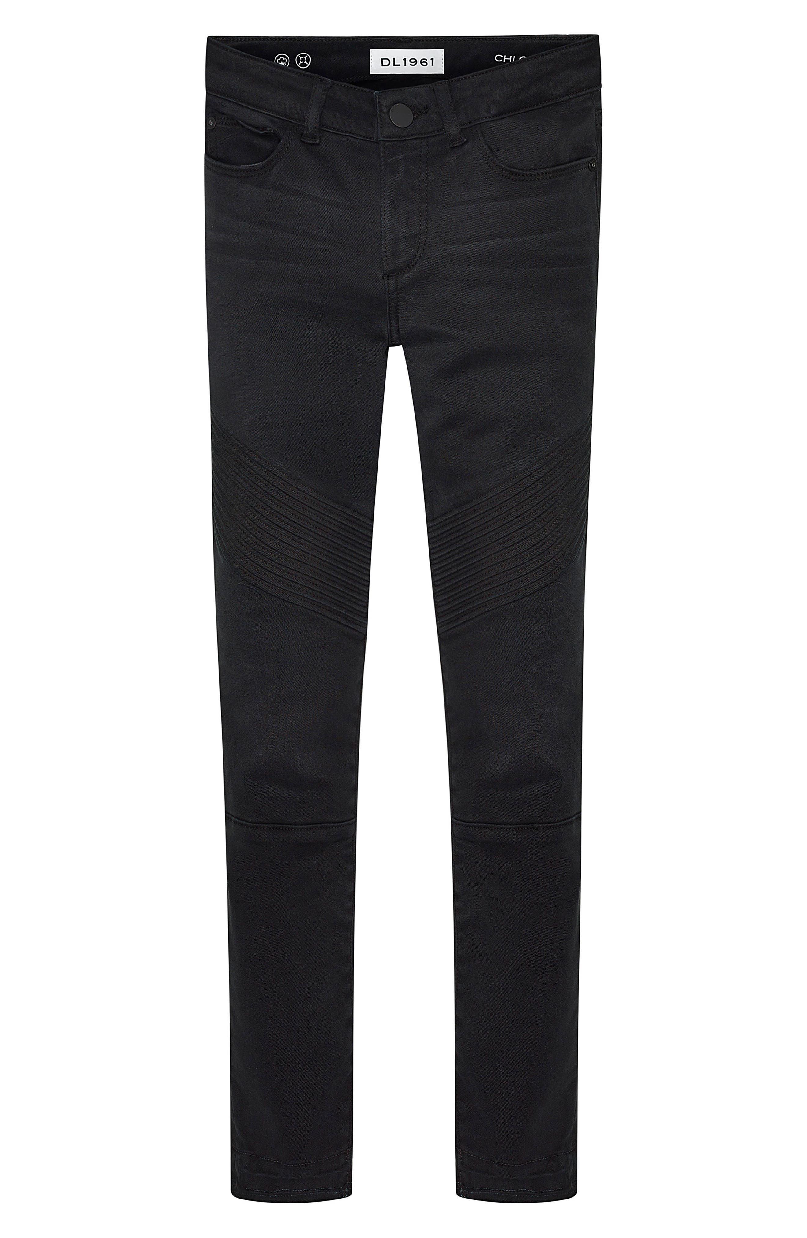 Moto Skinny Jeans,                             Main thumbnail 1, color,                             Washed Black Moto