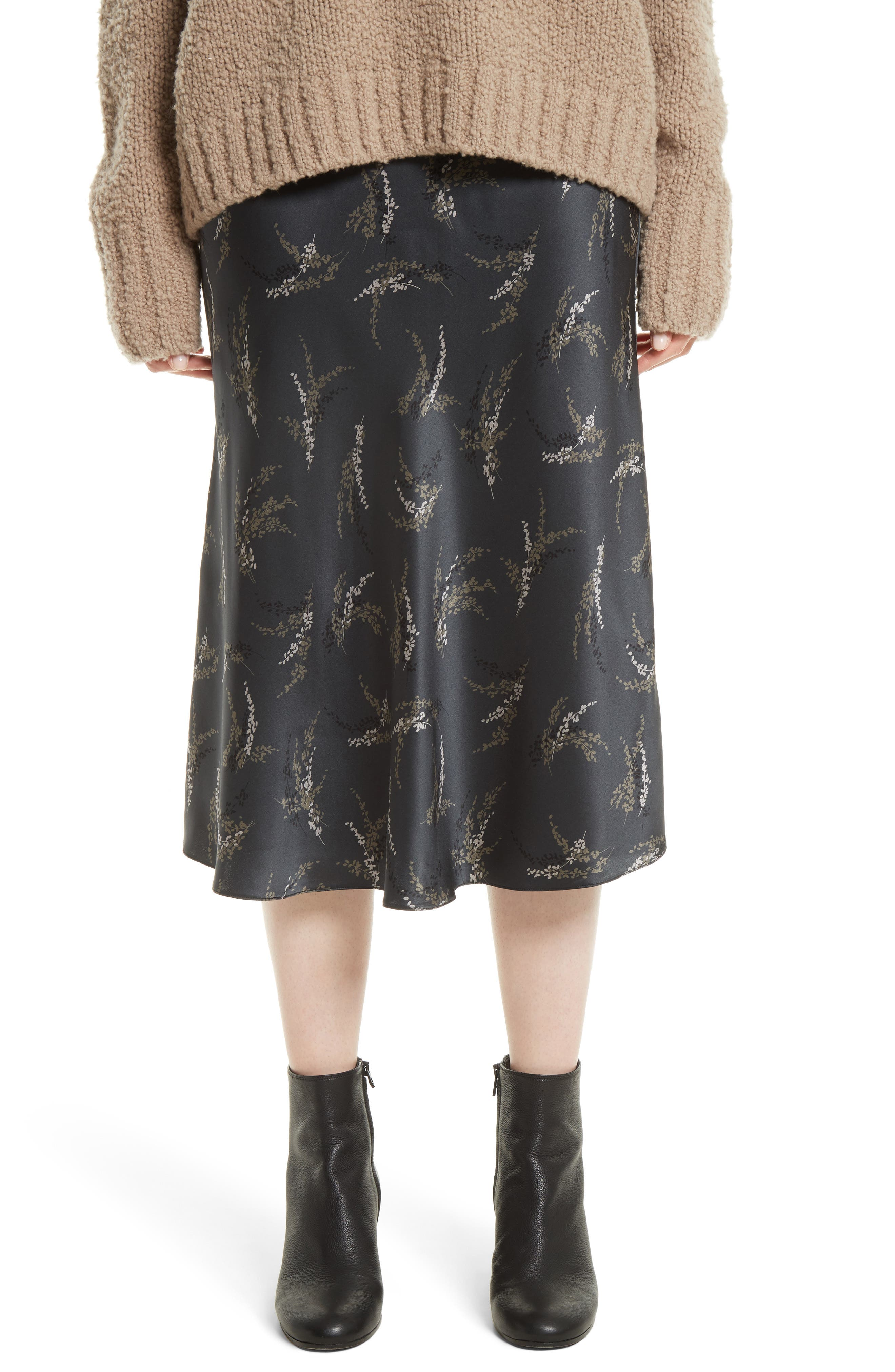 Spring Floral Pull-On Silk Midi Skirt,                         Main,                         color, Charcoal