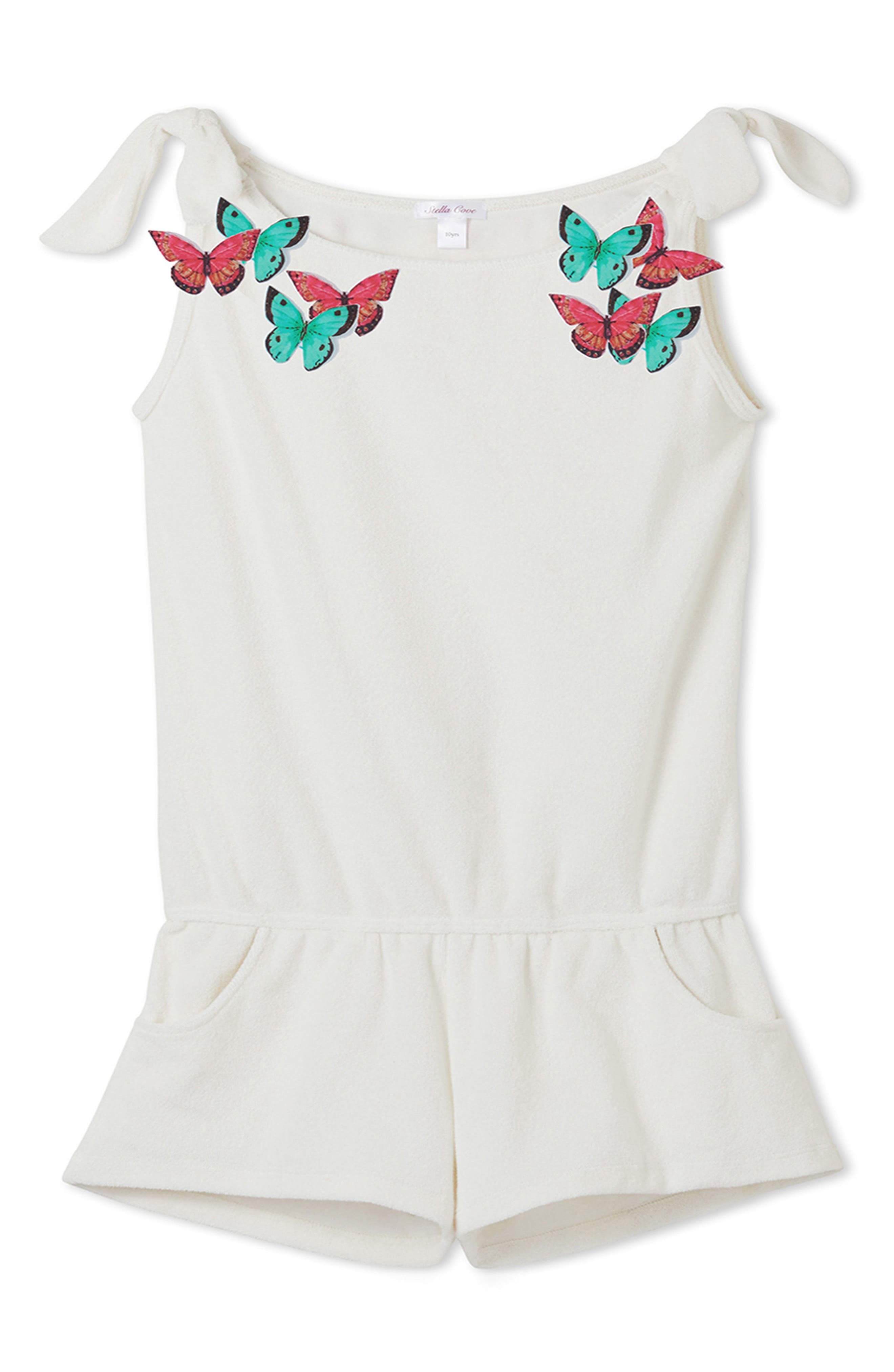 Main Image - Stella Cove Butterfly Cover-Up Romper (Toddler Girls & Little Girls)