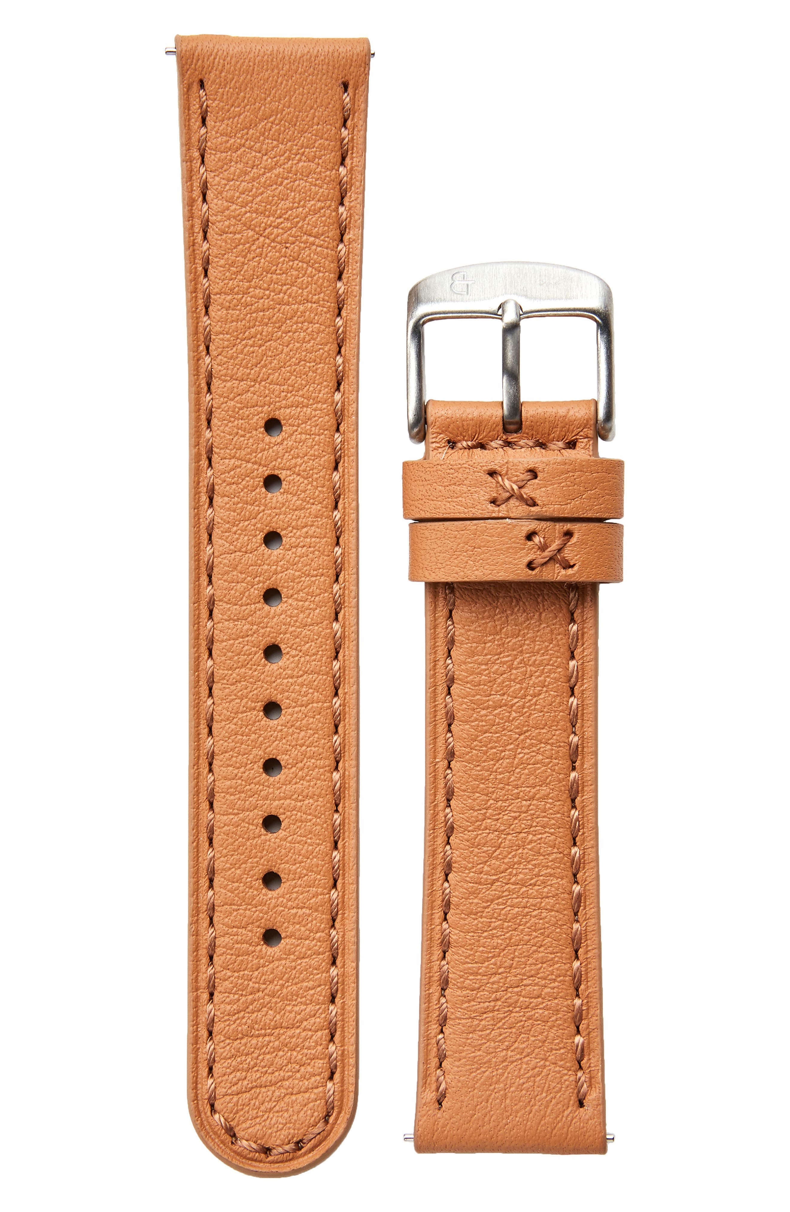 Leather Watch Strap, 20mm,                         Main,                         color, Camel