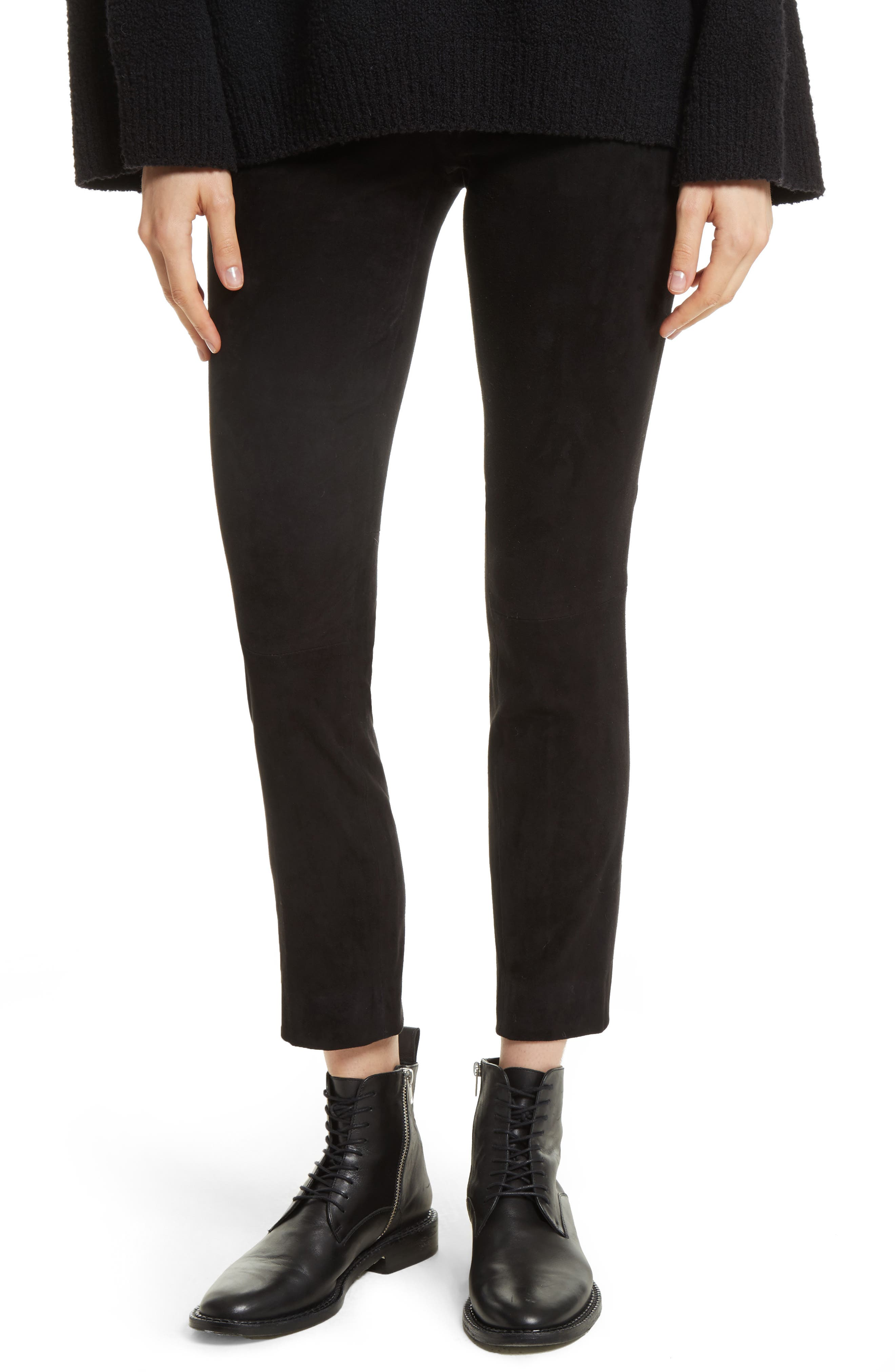 Alternate Image 1 Selected - Vince Stretch Suede Crop Pants