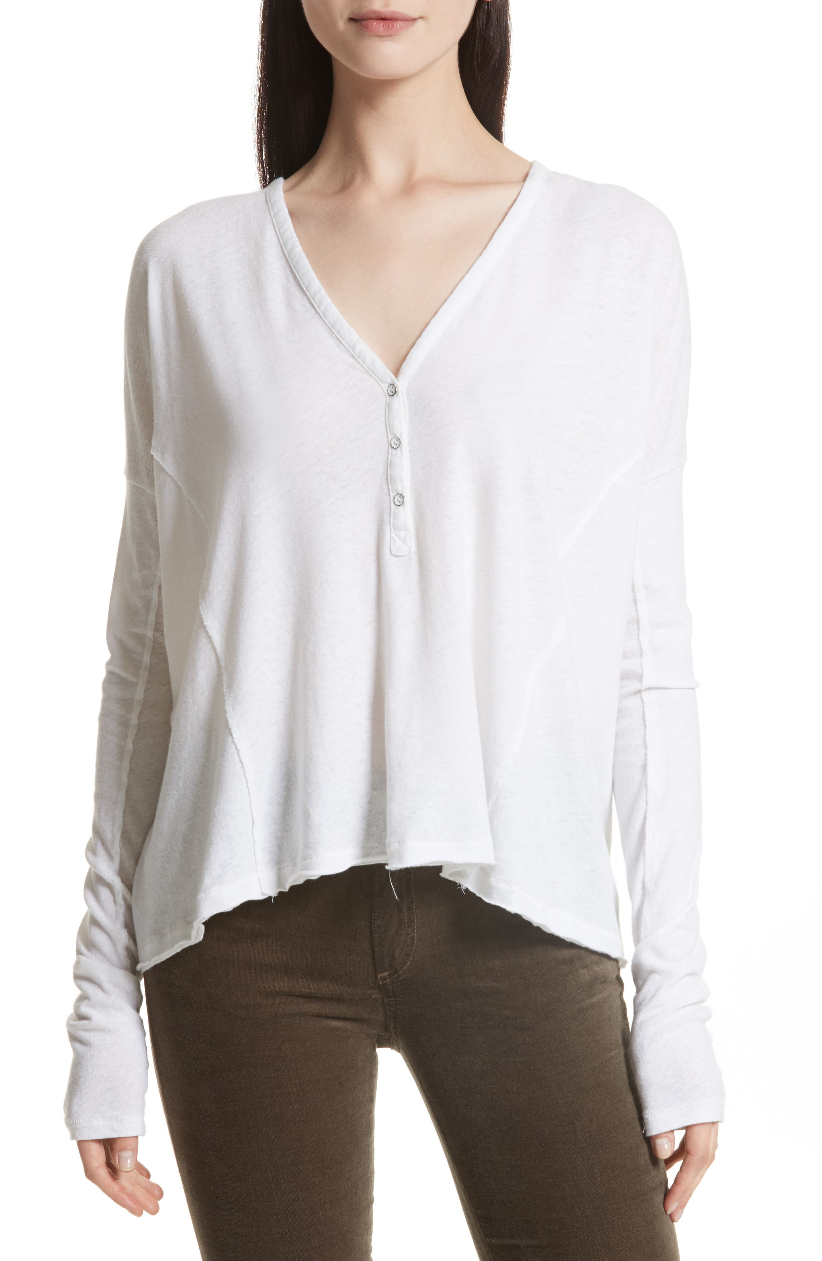 Dahlia Henley Top,                         Main,                         color, White