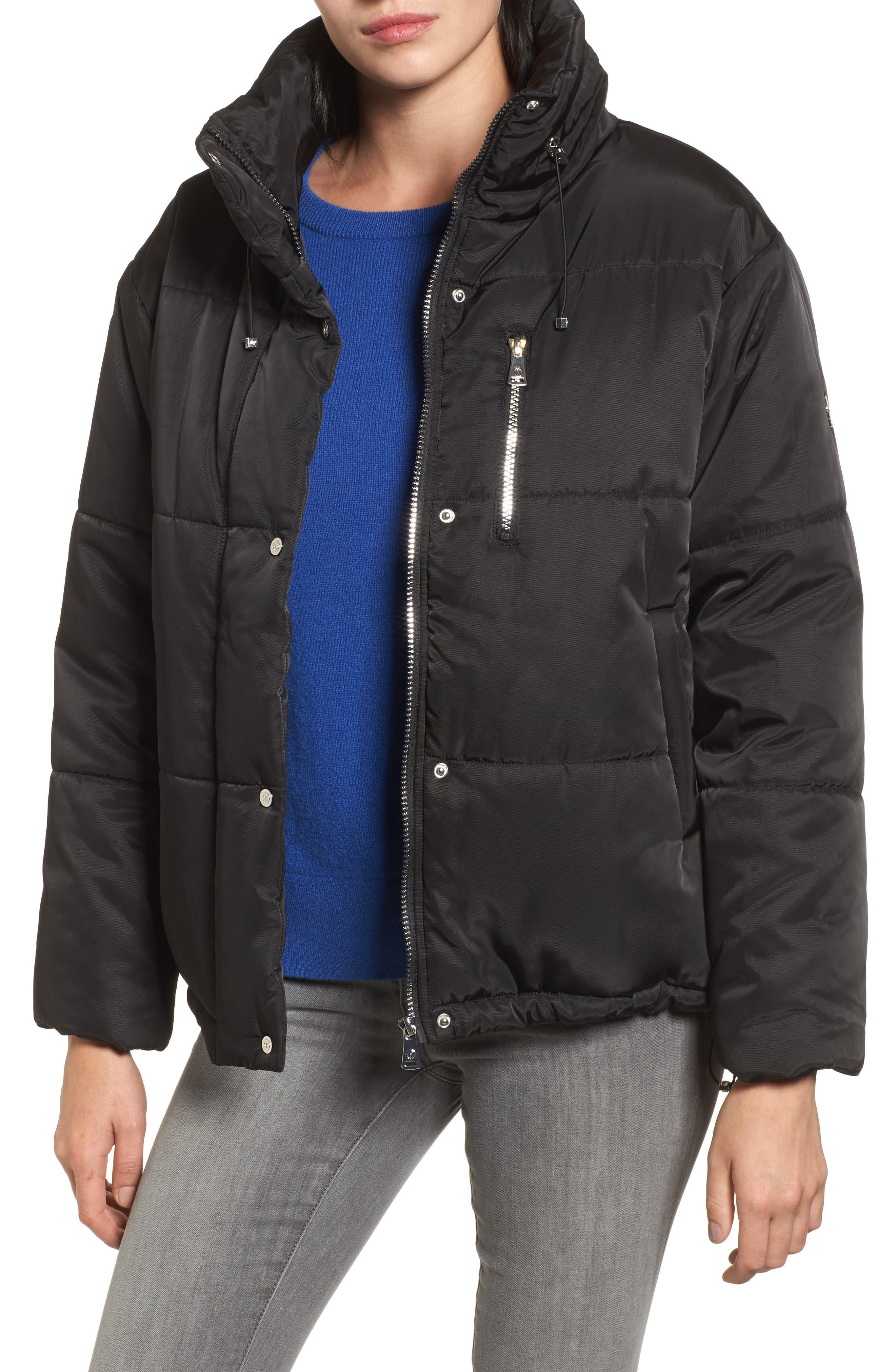 Oversize Puffer Jacket,                             Main thumbnail 1, color,                             Black