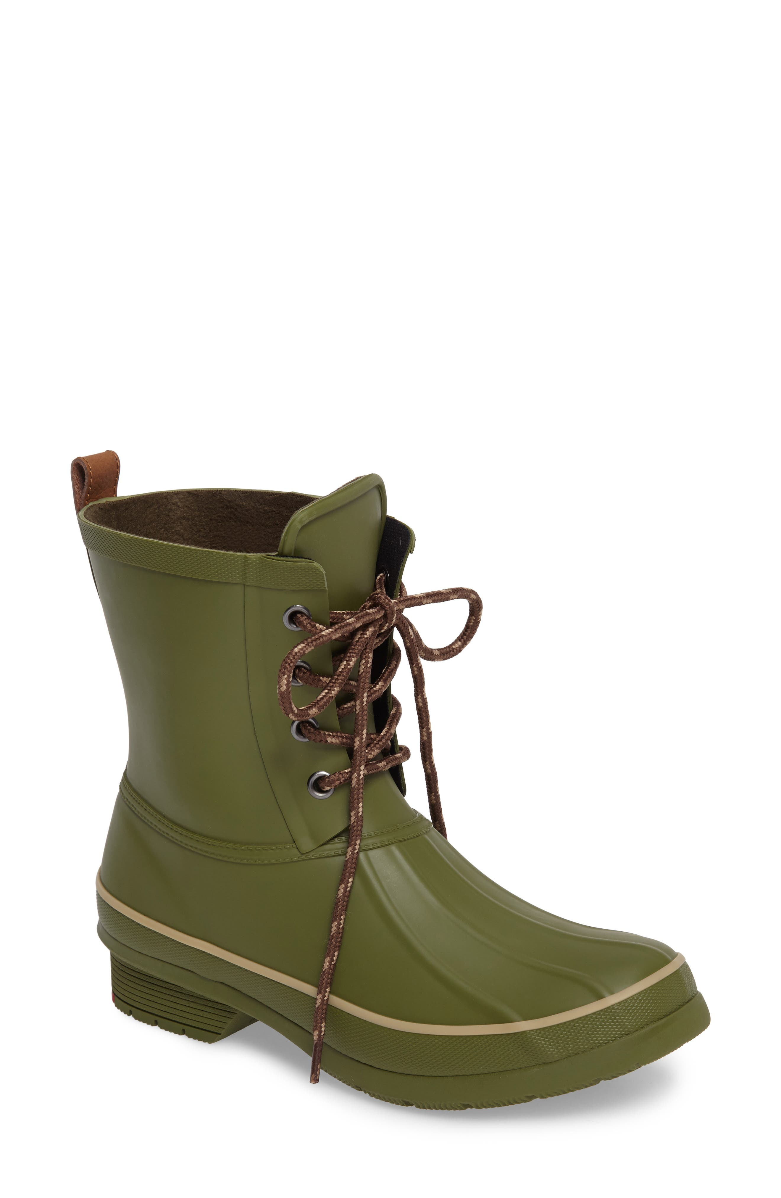 Classic Lace-Up Duck Boot,                         Main,                         color, Olive