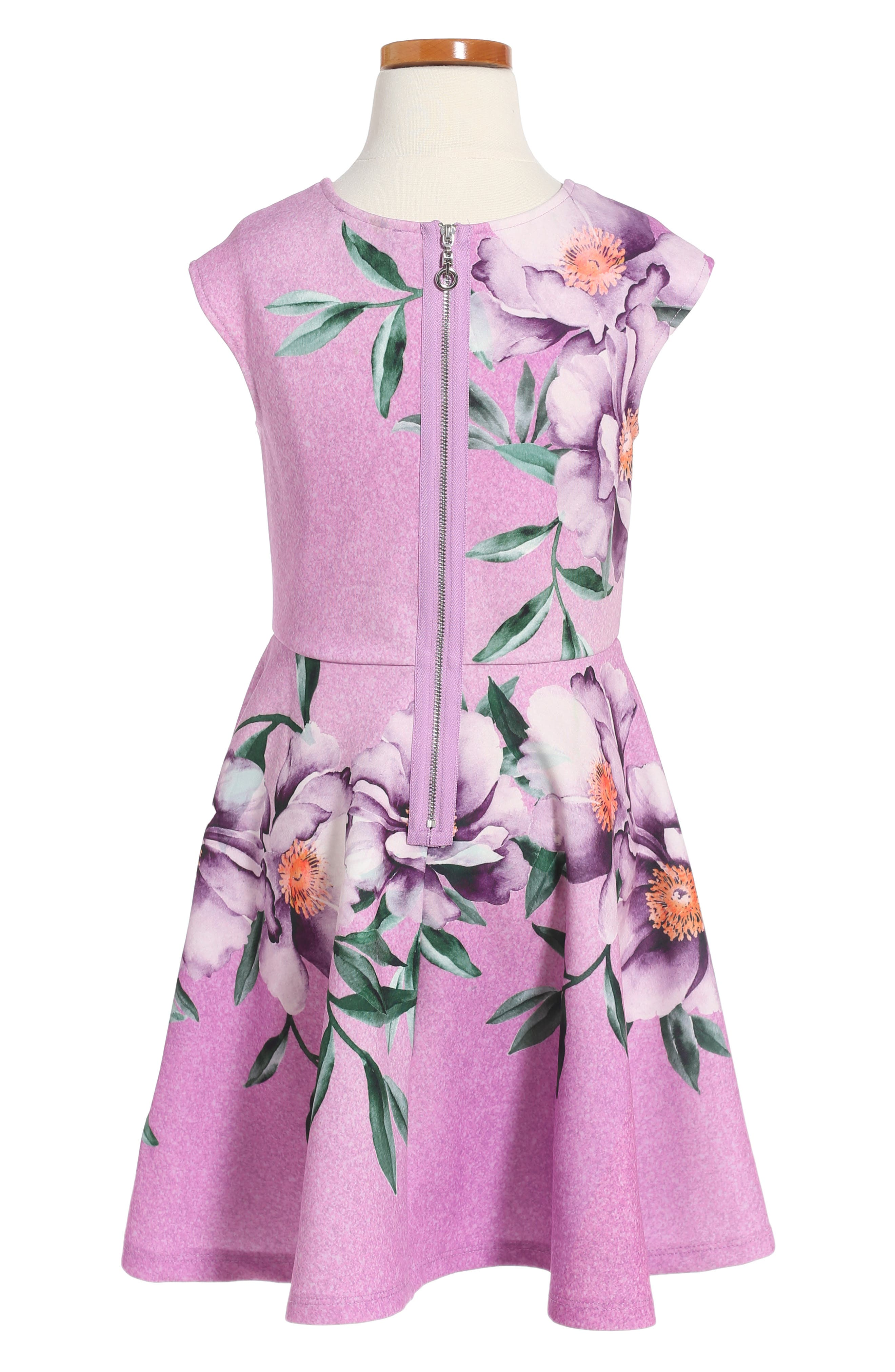 Alternate Image 2  - Hannah Banana Floral Print Skater Dress (Toddler Girls, Little Girls & Big Girls)