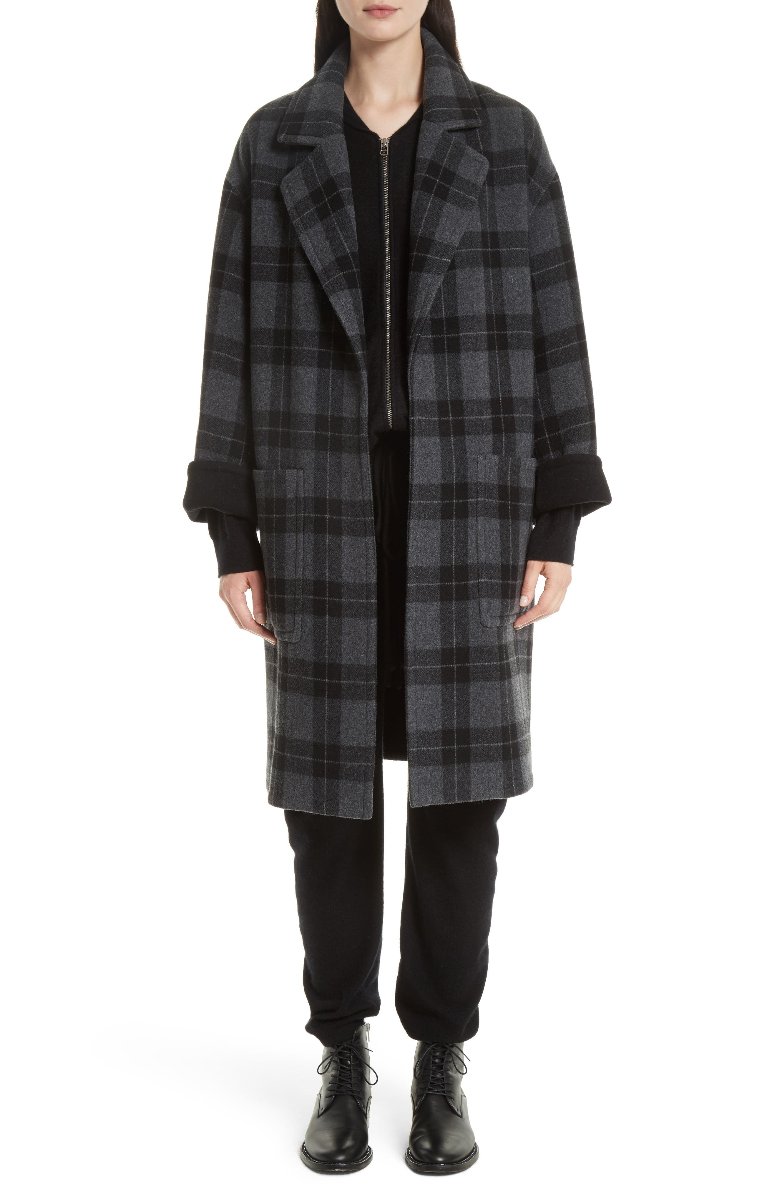 Vince Plaid Car Coat