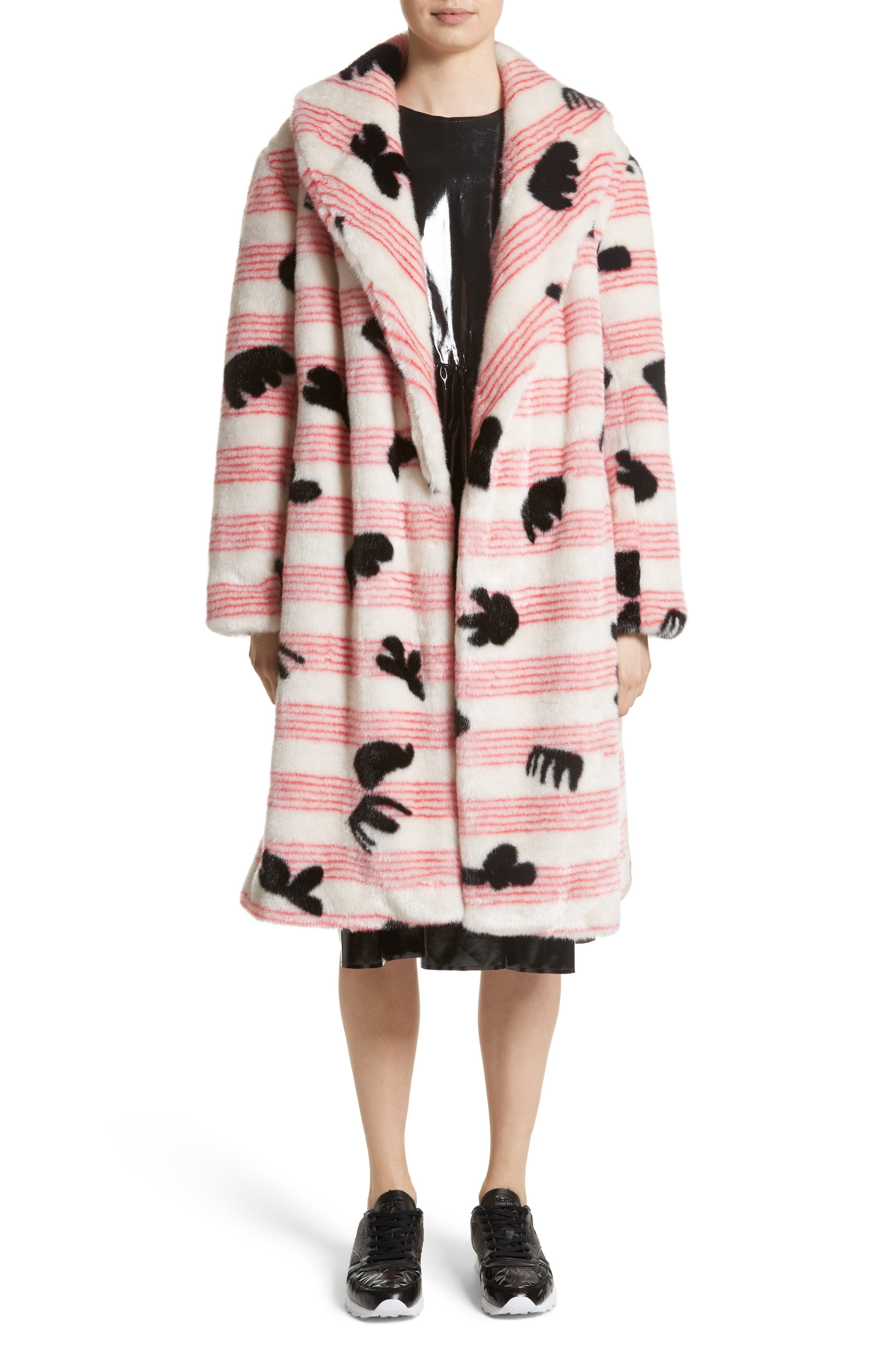 Elspeth Faux Fur Coat,                             Main thumbnail 1, color,                             Red/ White