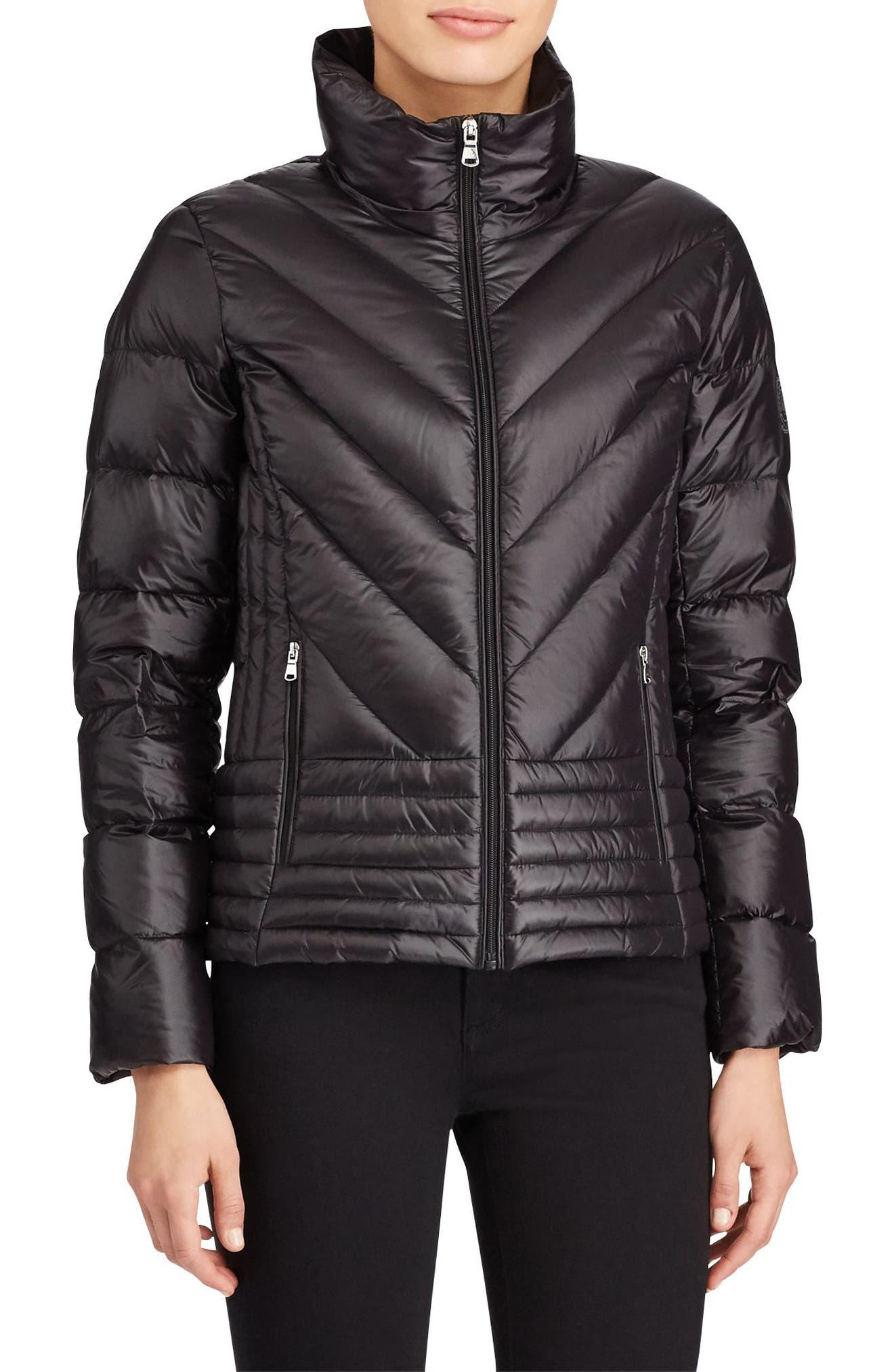 Short Down Coat,                         Main,                         color, Black