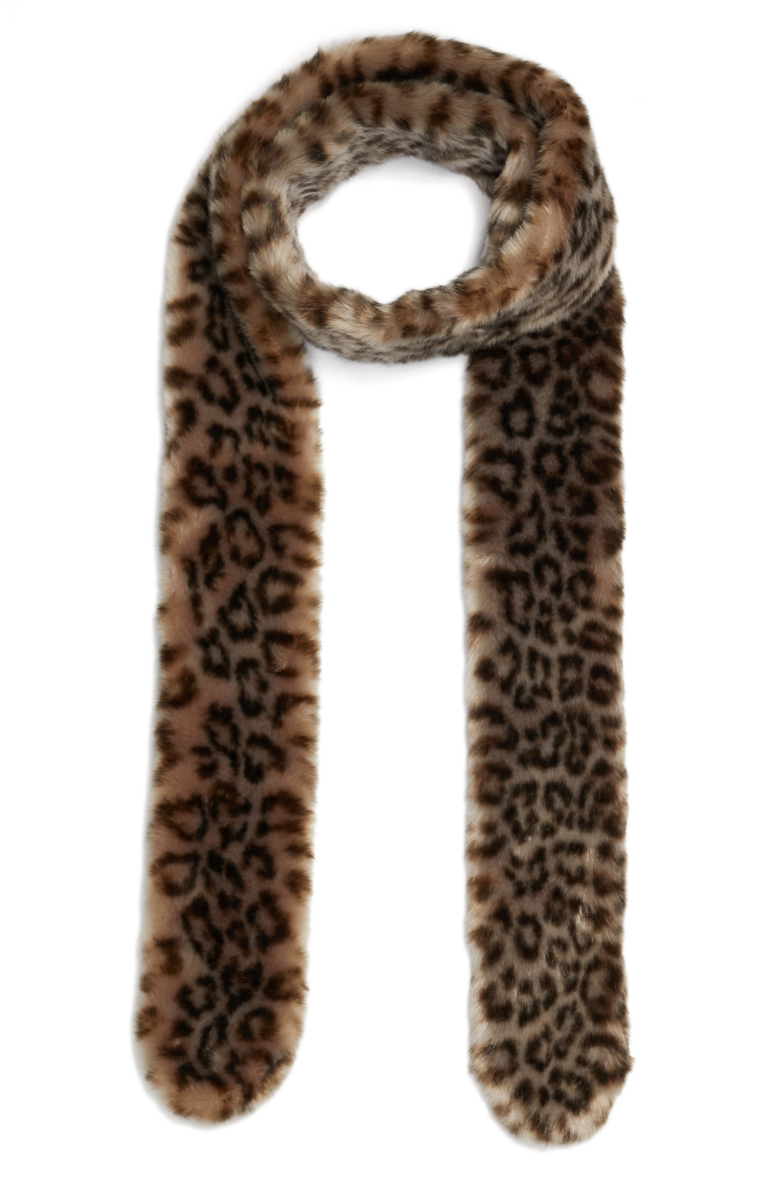 Leopard Print Faux Fur Scarf,                         Main,                         color, Grey Leopard