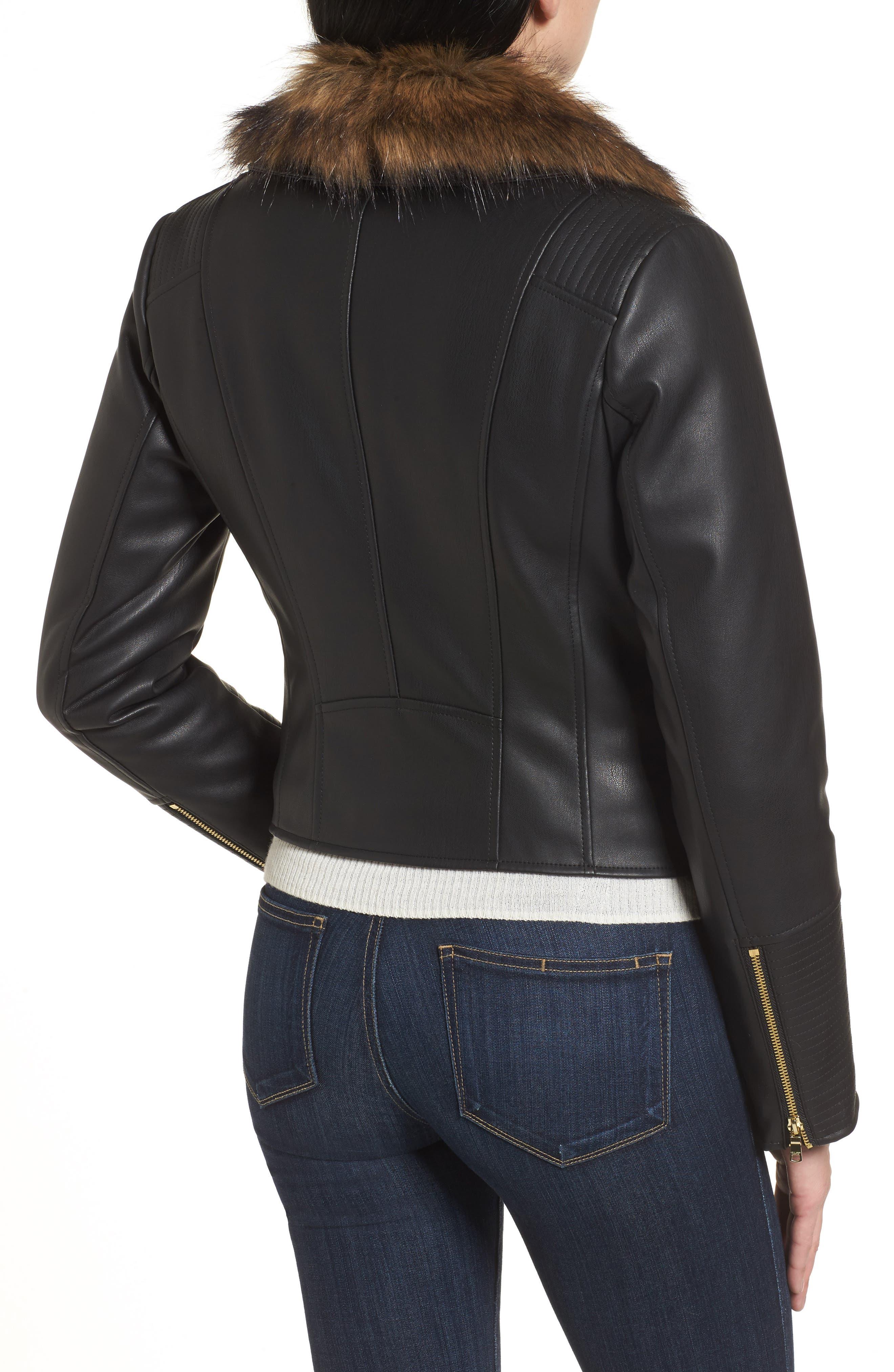 Alternate Image 2  - Cole Haan Signature Faux Leather Jacket with Detachable Faux Fur