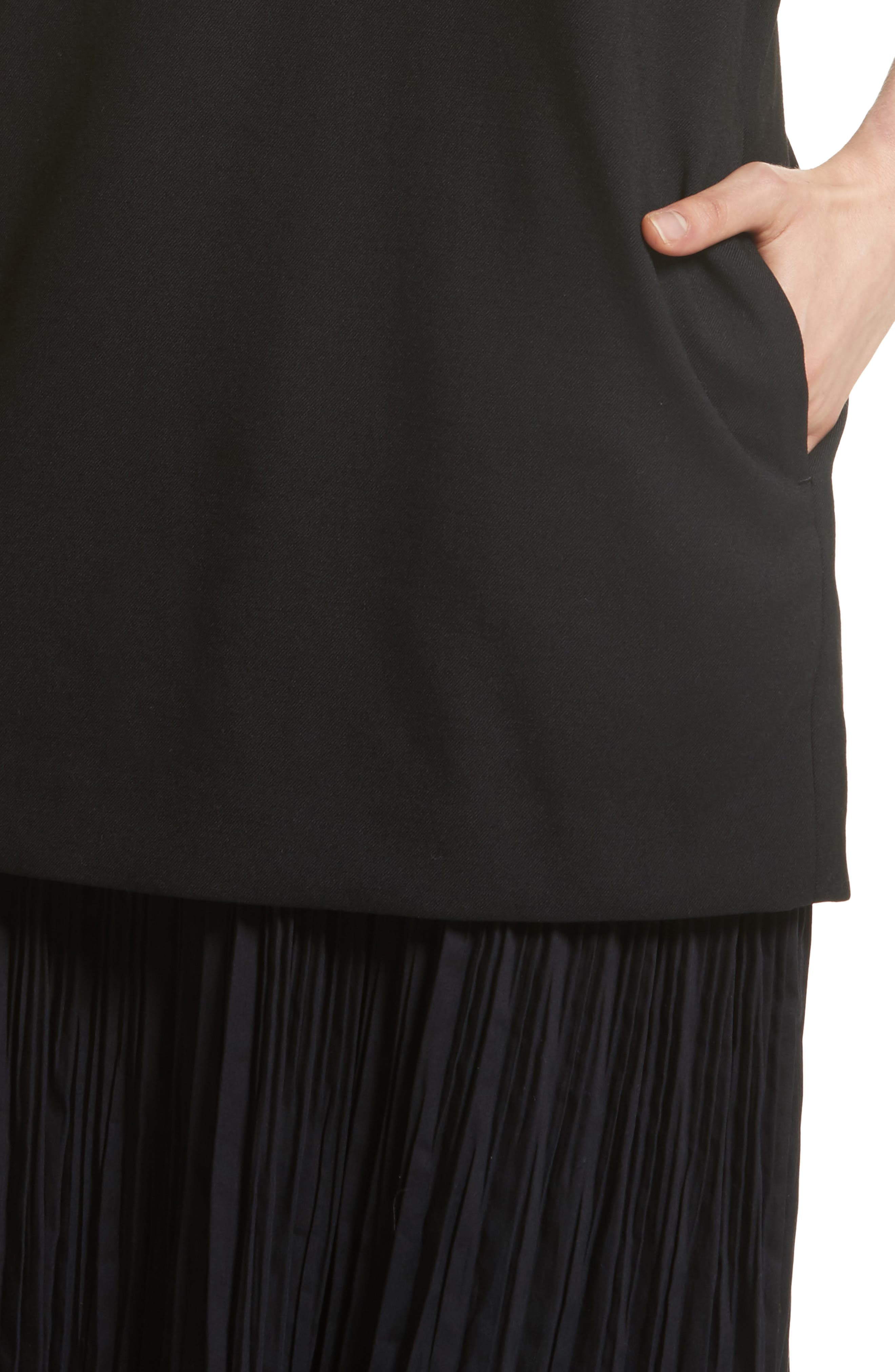 K Bottom Pleated Dress,                             Alternate thumbnail 6, color,                             Black