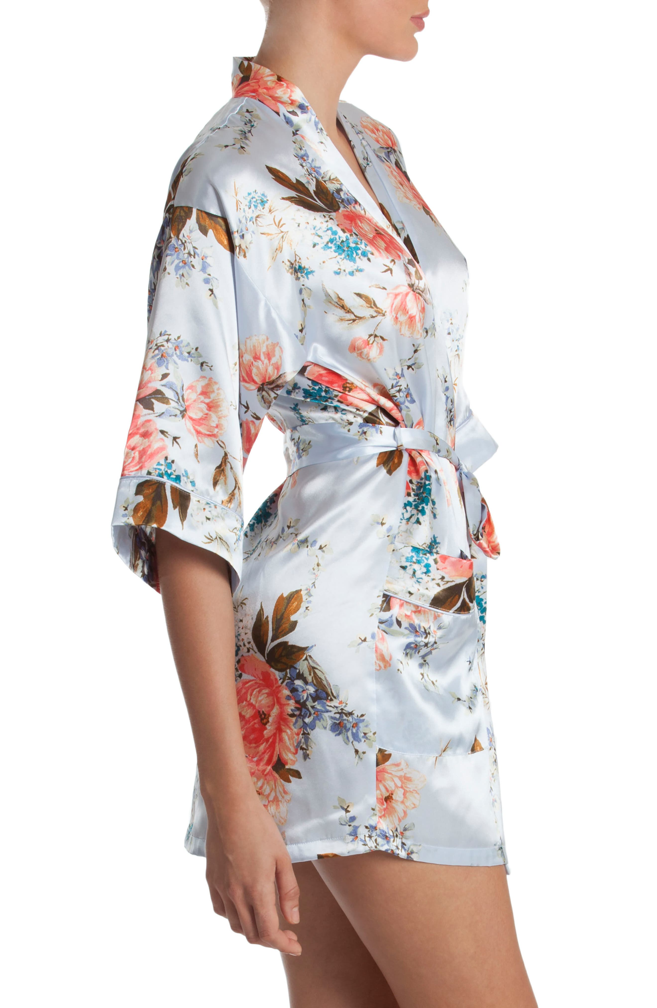 Alternate Image 3  - In Bloom by Jonquil Floral Print Satin Robe