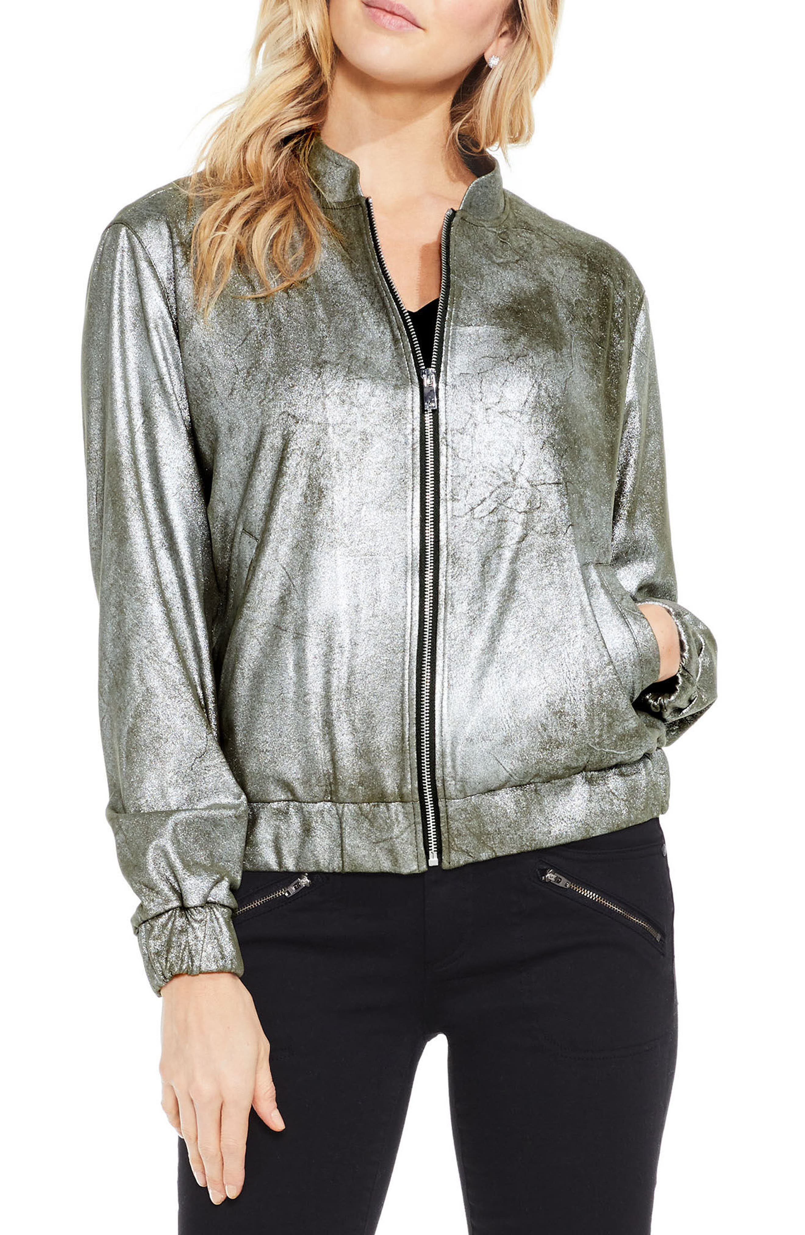Foiled Ponte Knit Bomber Jacket,                         Main,                         color, Military Green