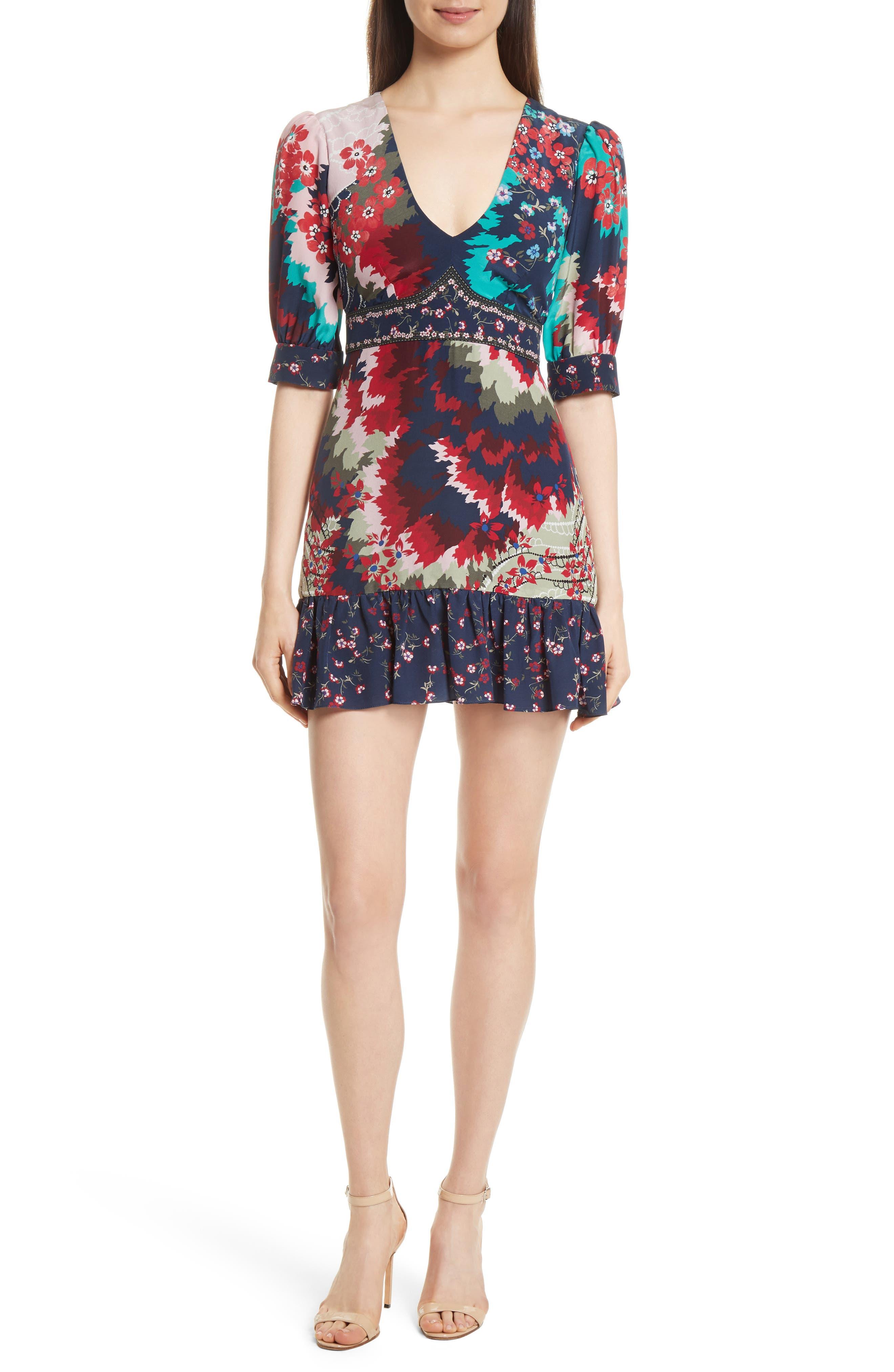 Vera-B Silk Minidress,                         Main,                         color, Jasmine Feather Placement