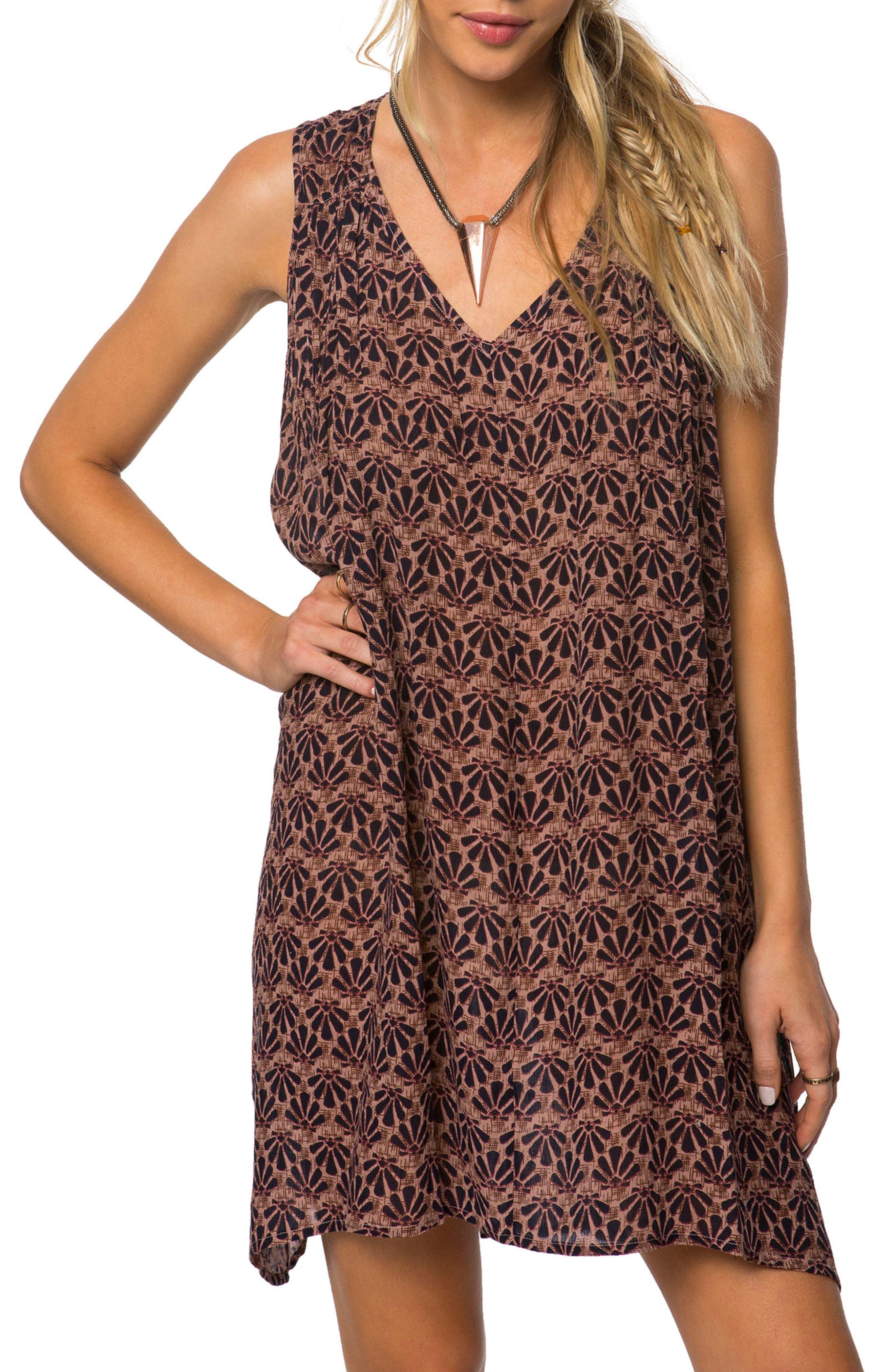 Alaska Print Dress,                         Main,                         color, Brown