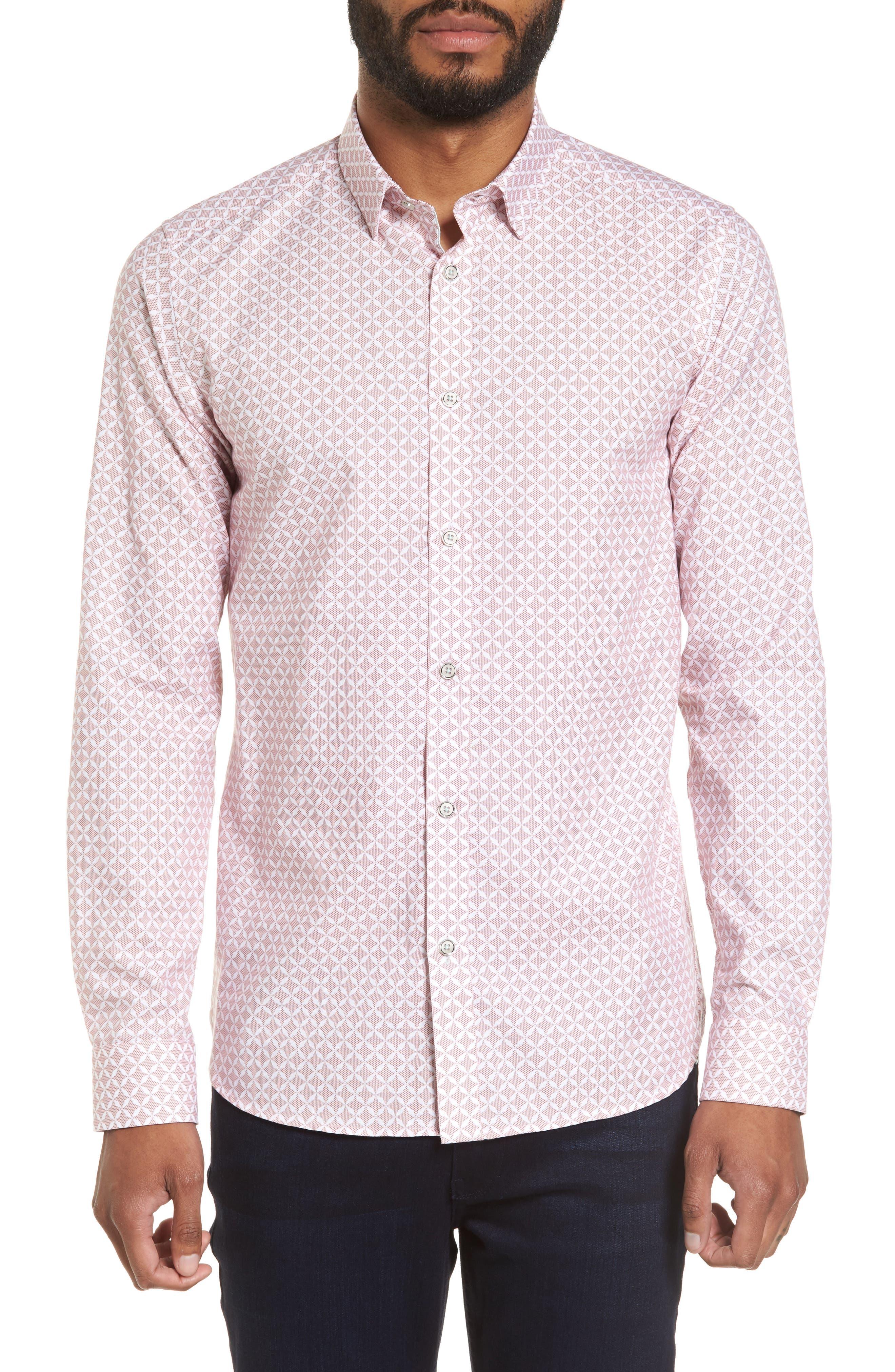 Langaz Dot Lattice Sport Shirt,                             Main thumbnail 1, color,                             Pink