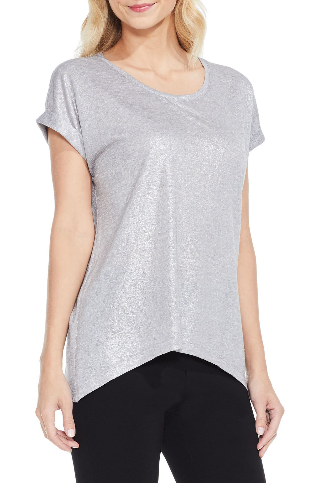 Foiled Knit Tee,                         Main,                         color, Grey Heather