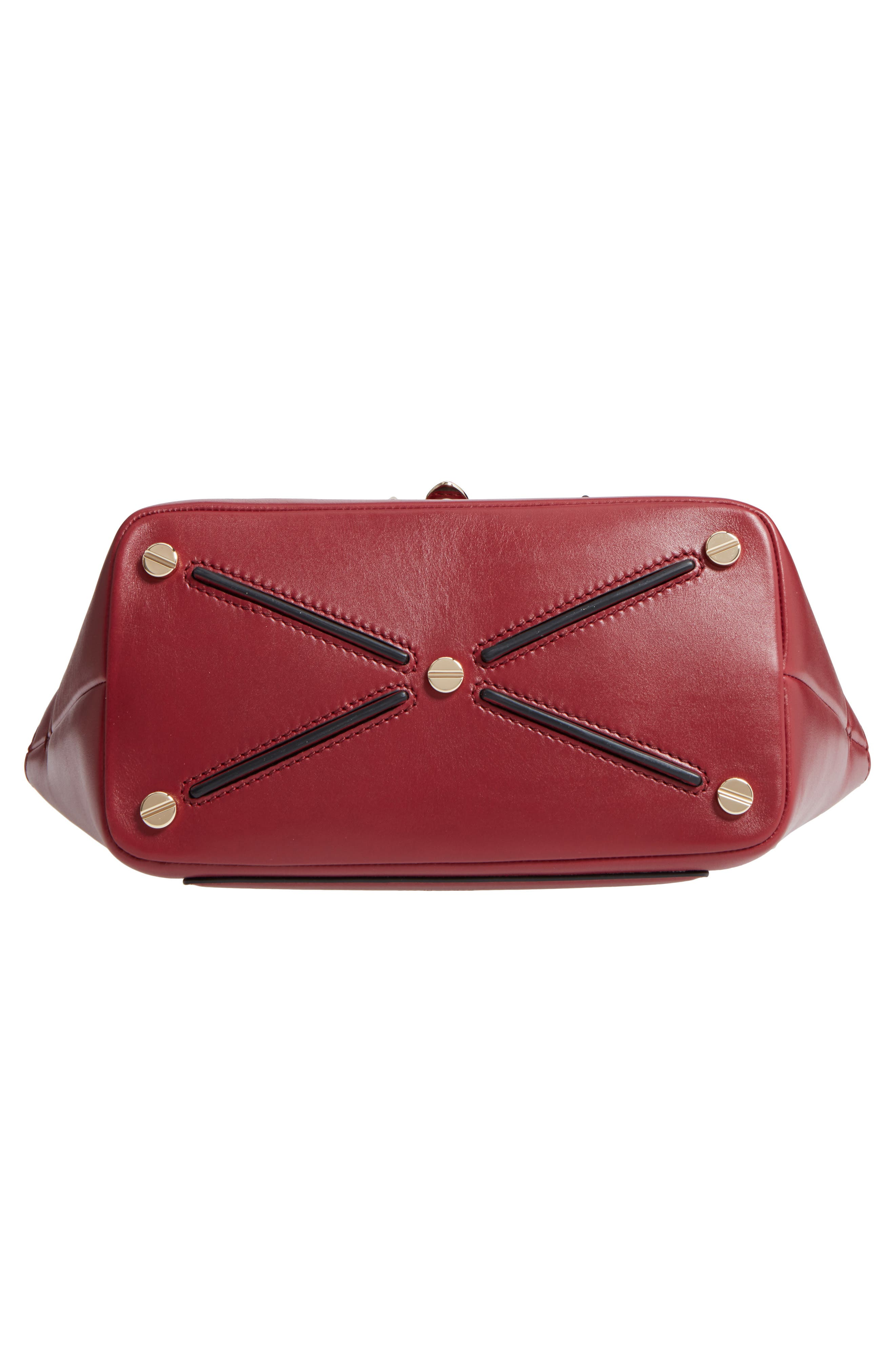 Small Double Handle Demi Moon Leather Satchel,                             Alternate thumbnail 5, color,                             Rosso