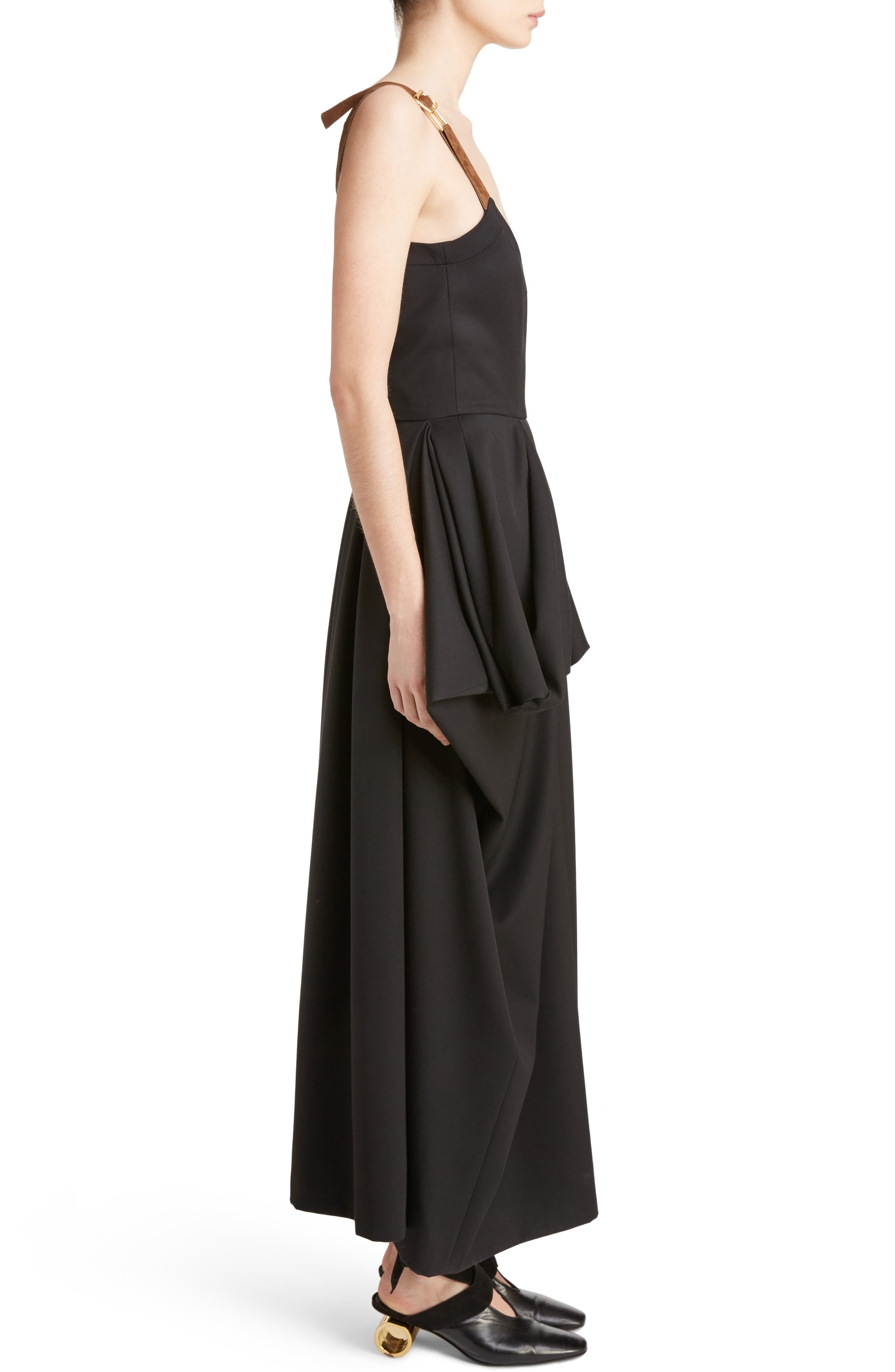 J.W.ANDERSON Drape Pocket Wool Dress,                             Alternate thumbnail 4, color,                             Black