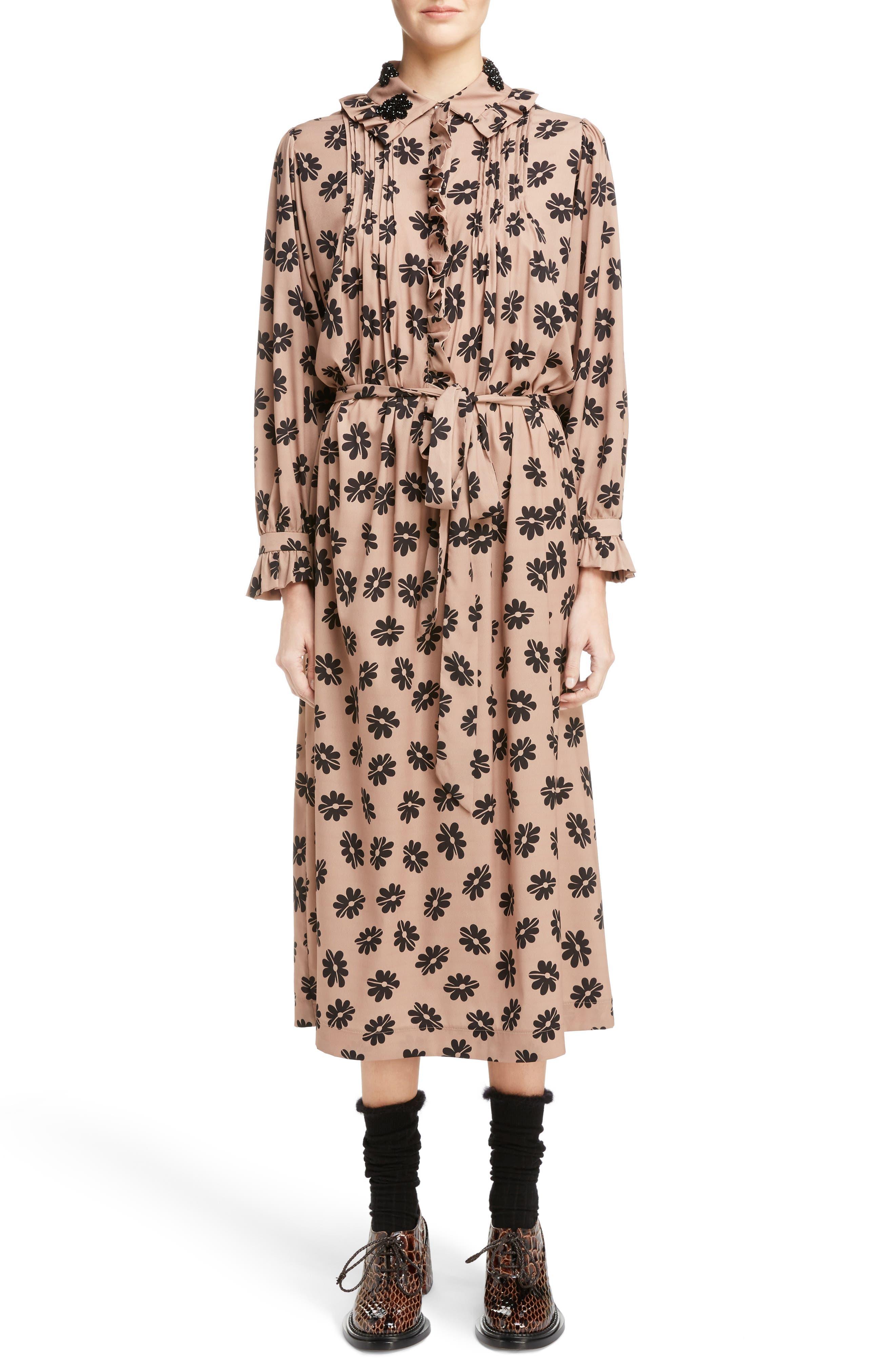 Alternate Image 1 Selected - Simone Rocha Beaded Pleat Front Shirtdress