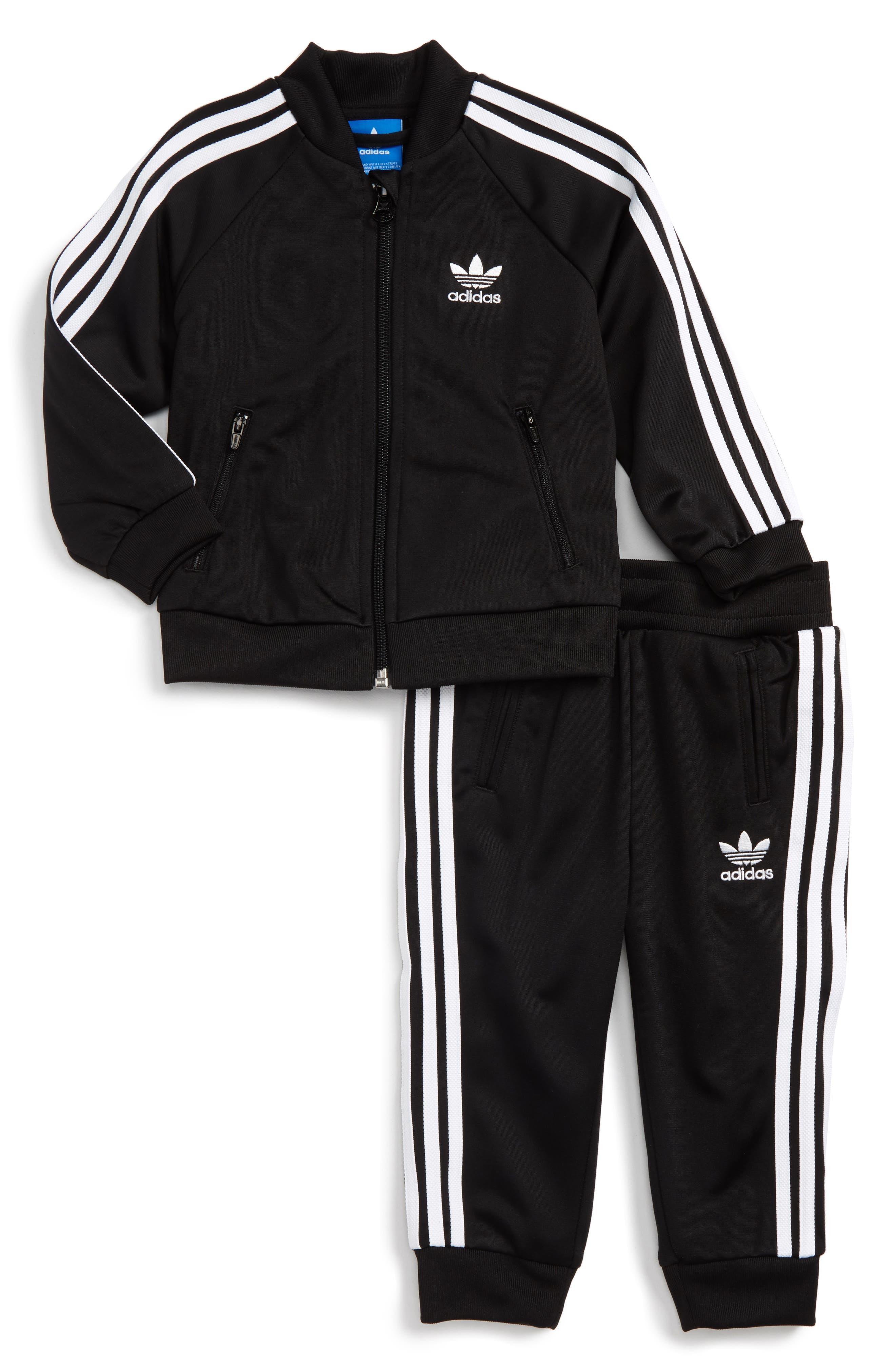 Logo Track Jacket & Pants Set,                             Main thumbnail 1, color,                             Black/ White
