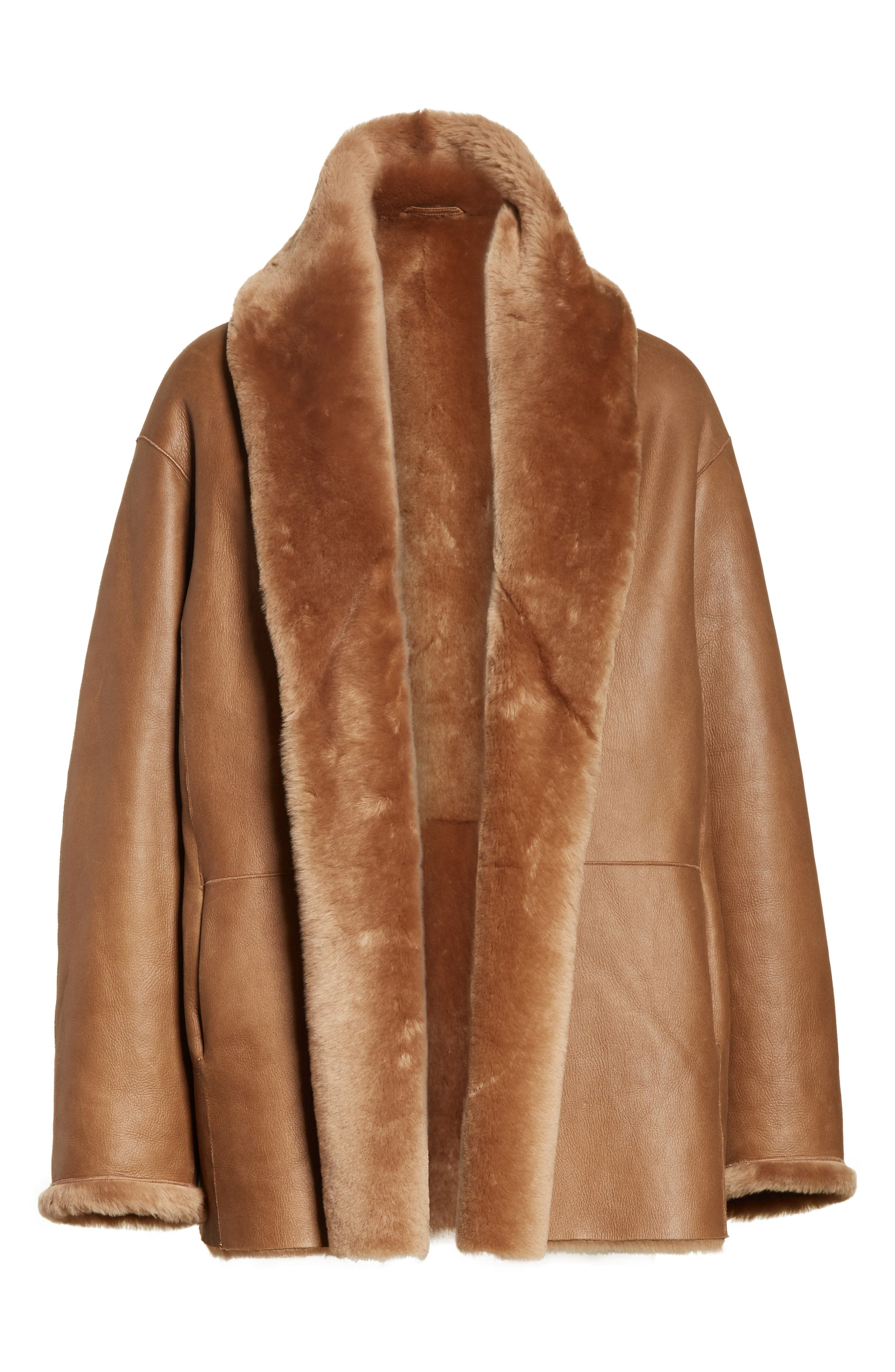 Alternate Image 7  - Vince Shawl Collar Genuine Shearling Reversible Coat
