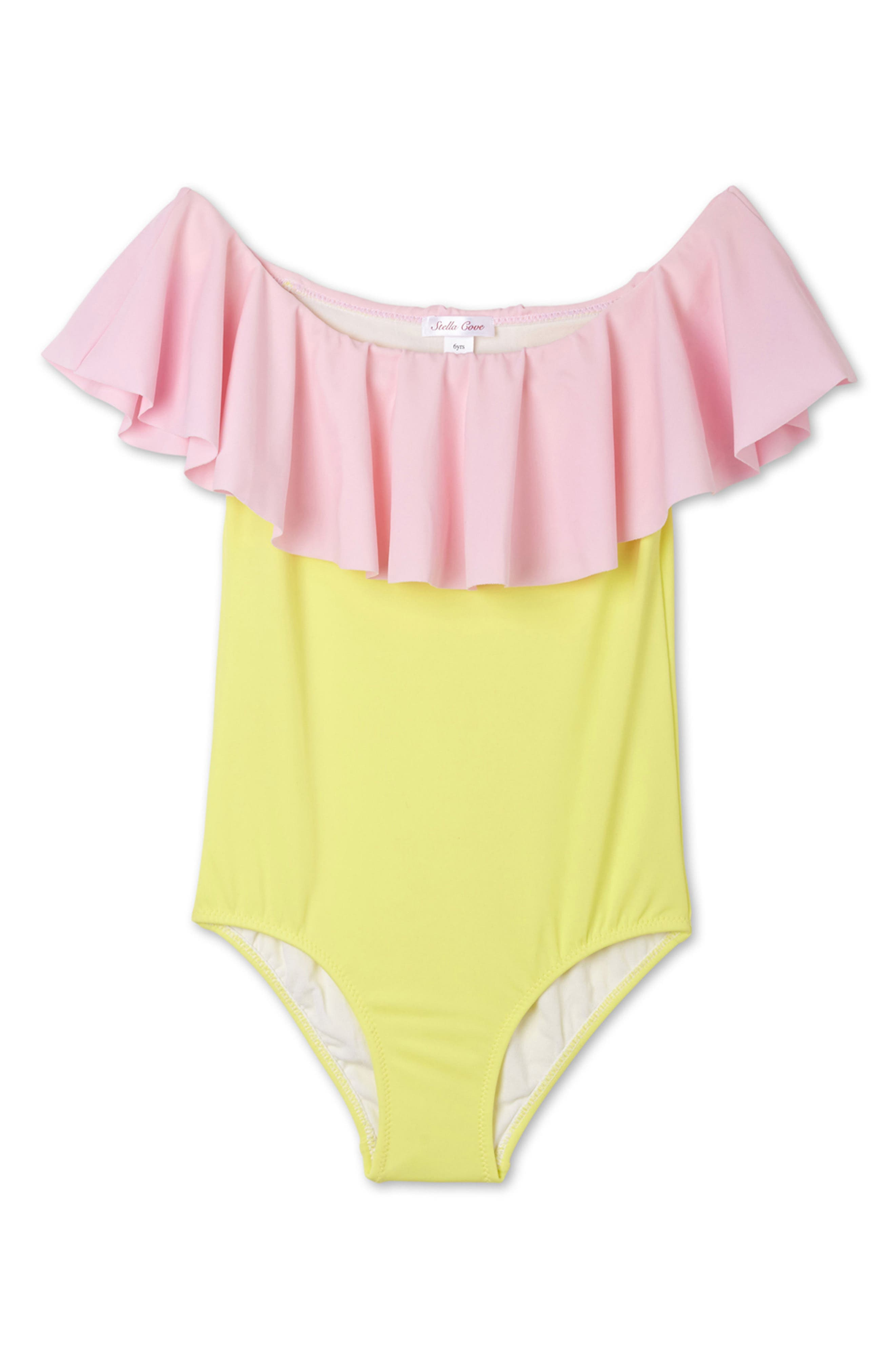 One-Piece Ruffle Swimsuit,                         Main,                         color, Yellow