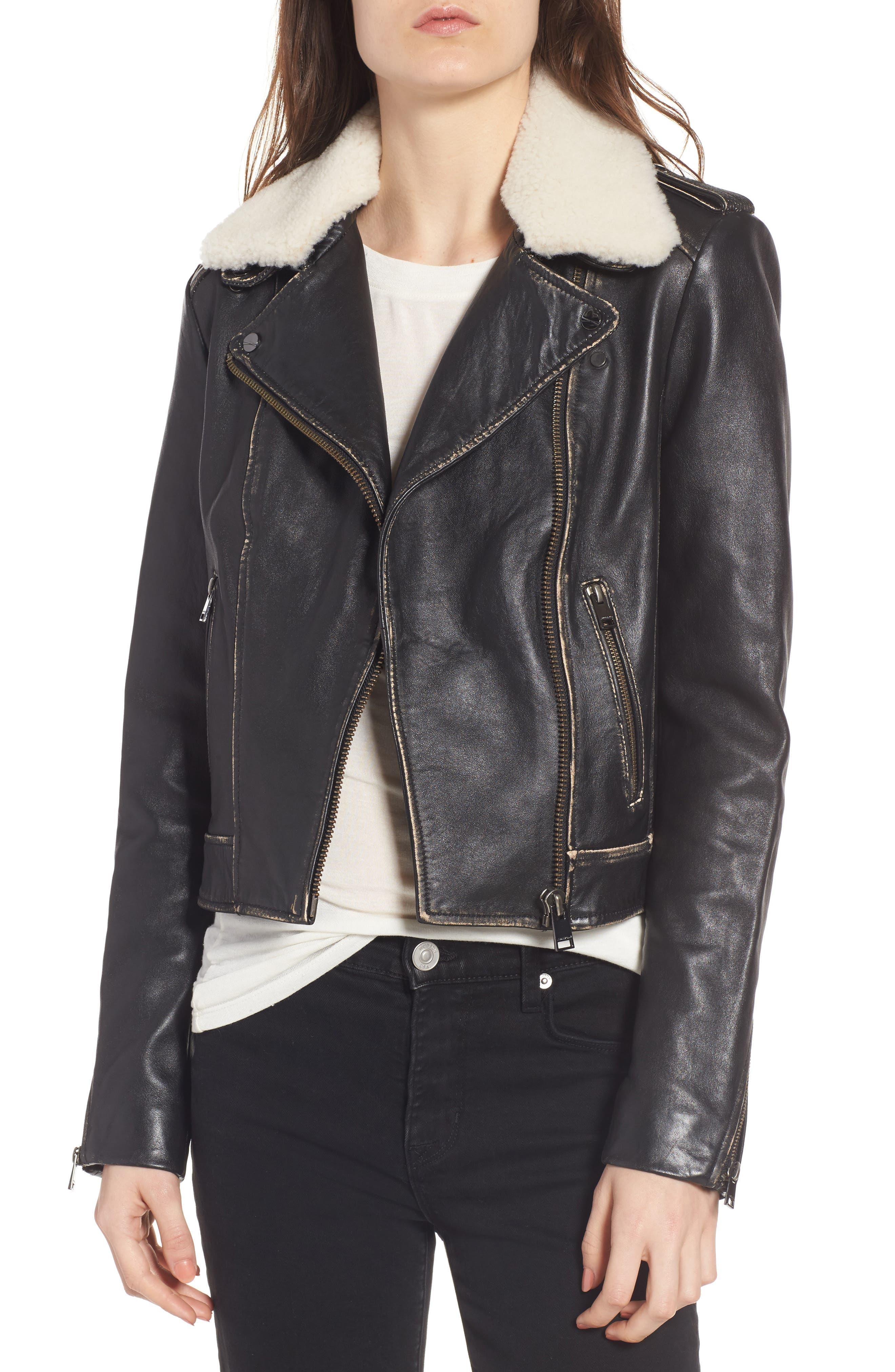 Moto Jacket with Detachable Genuine Shearling,                             Main thumbnail 1, color,                             Black