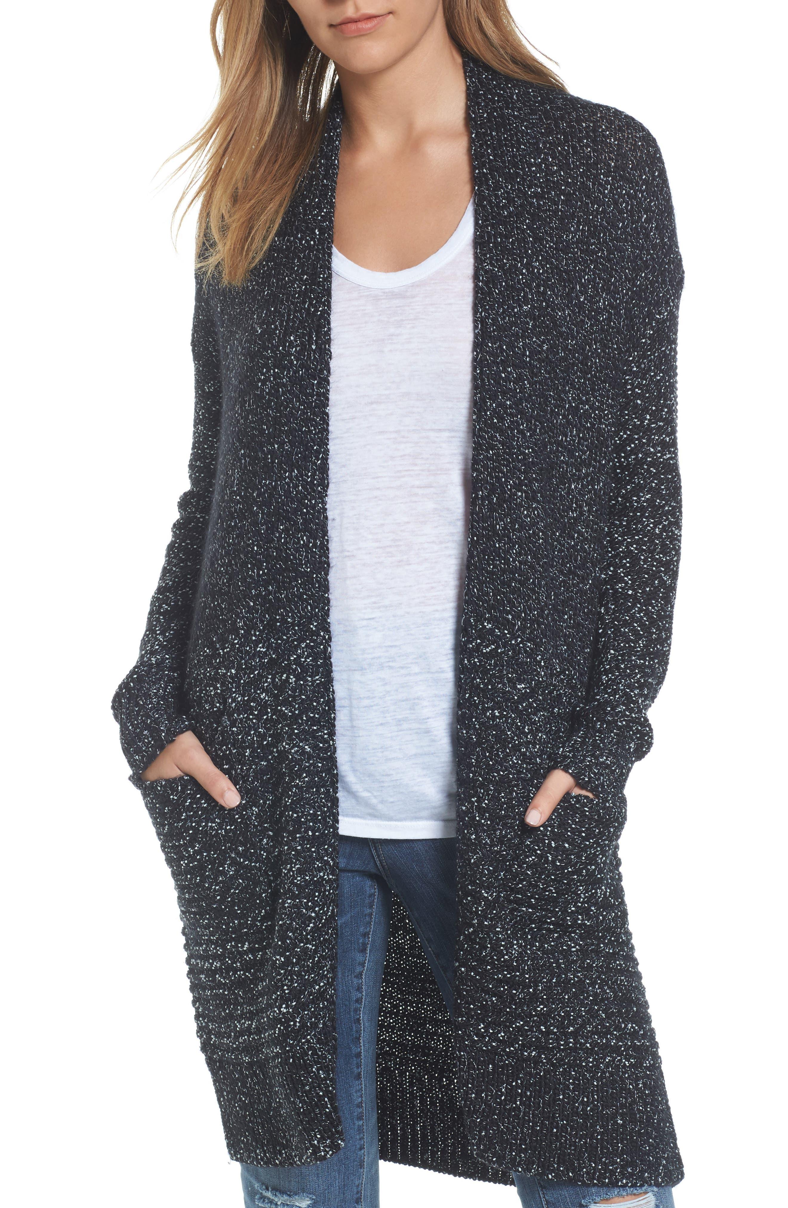 Caslon® Mixed Stitch Long Cardigan (Regular & Petite)
