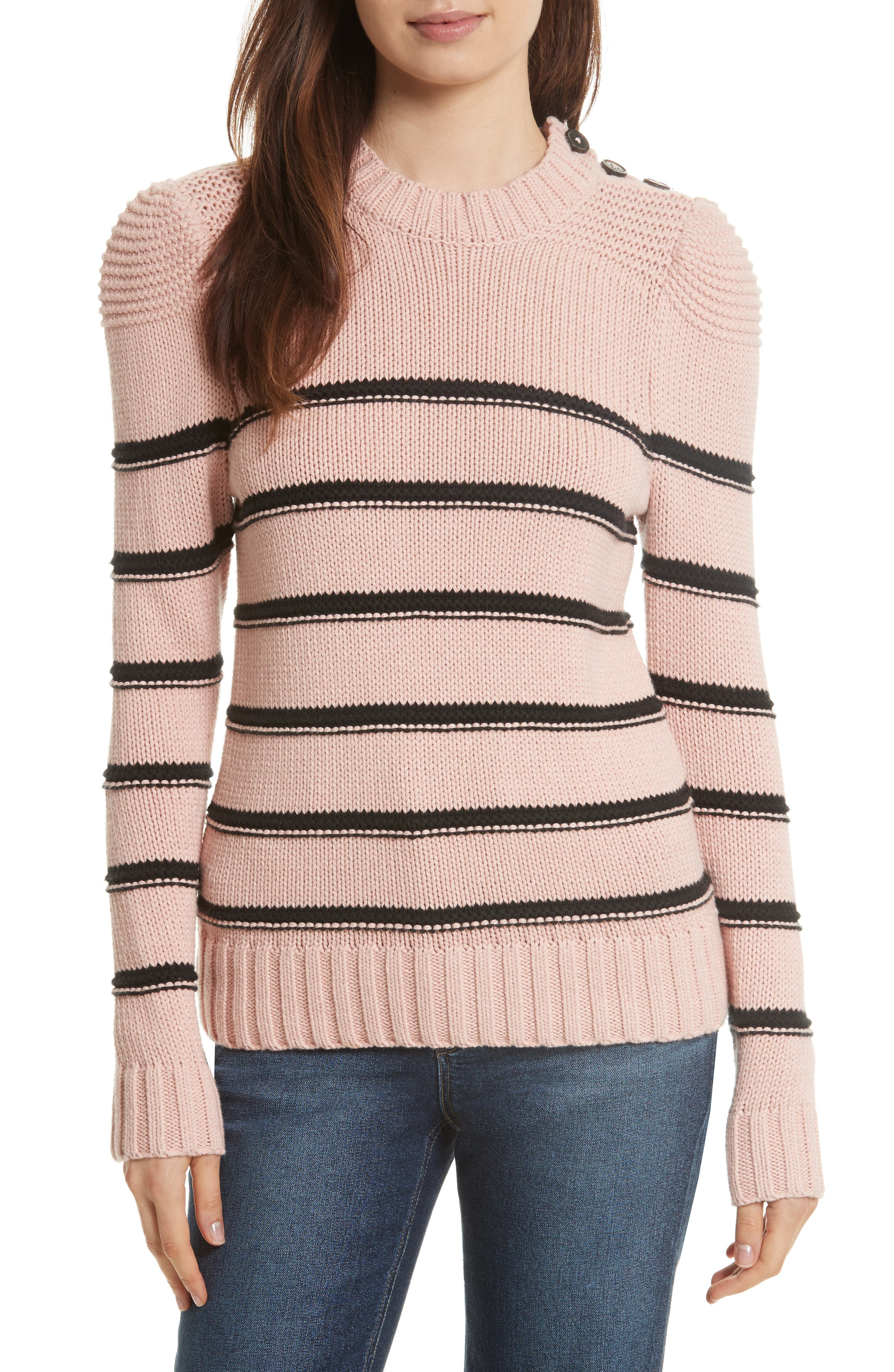 Stripe Cotton & Merino Wool Sweater,                         Main,                         color, Black/ Blush Combo