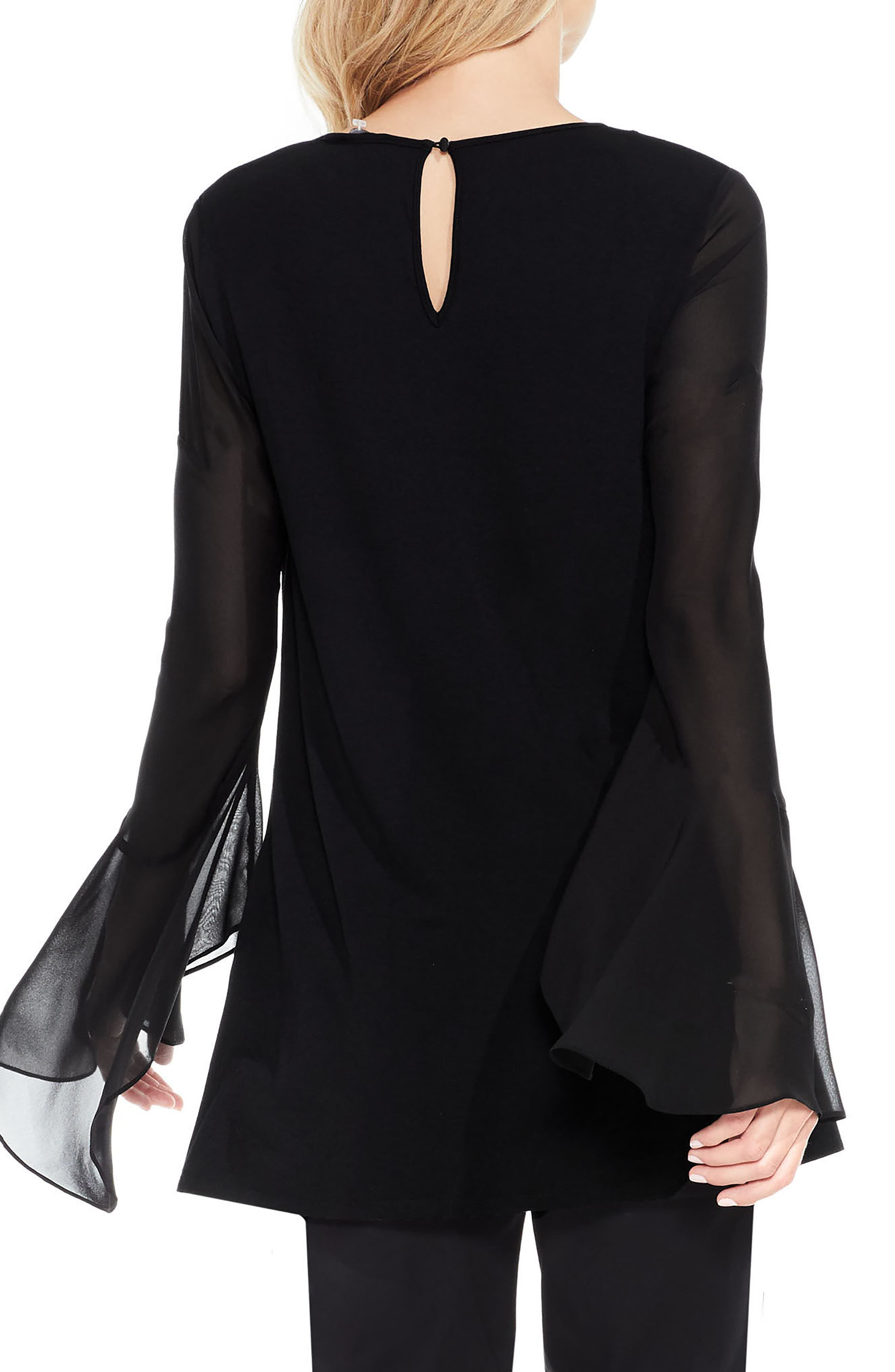 Mix Media Bell Sleeve Blouse,                             Alternate thumbnail 2, color,                             Rich Black